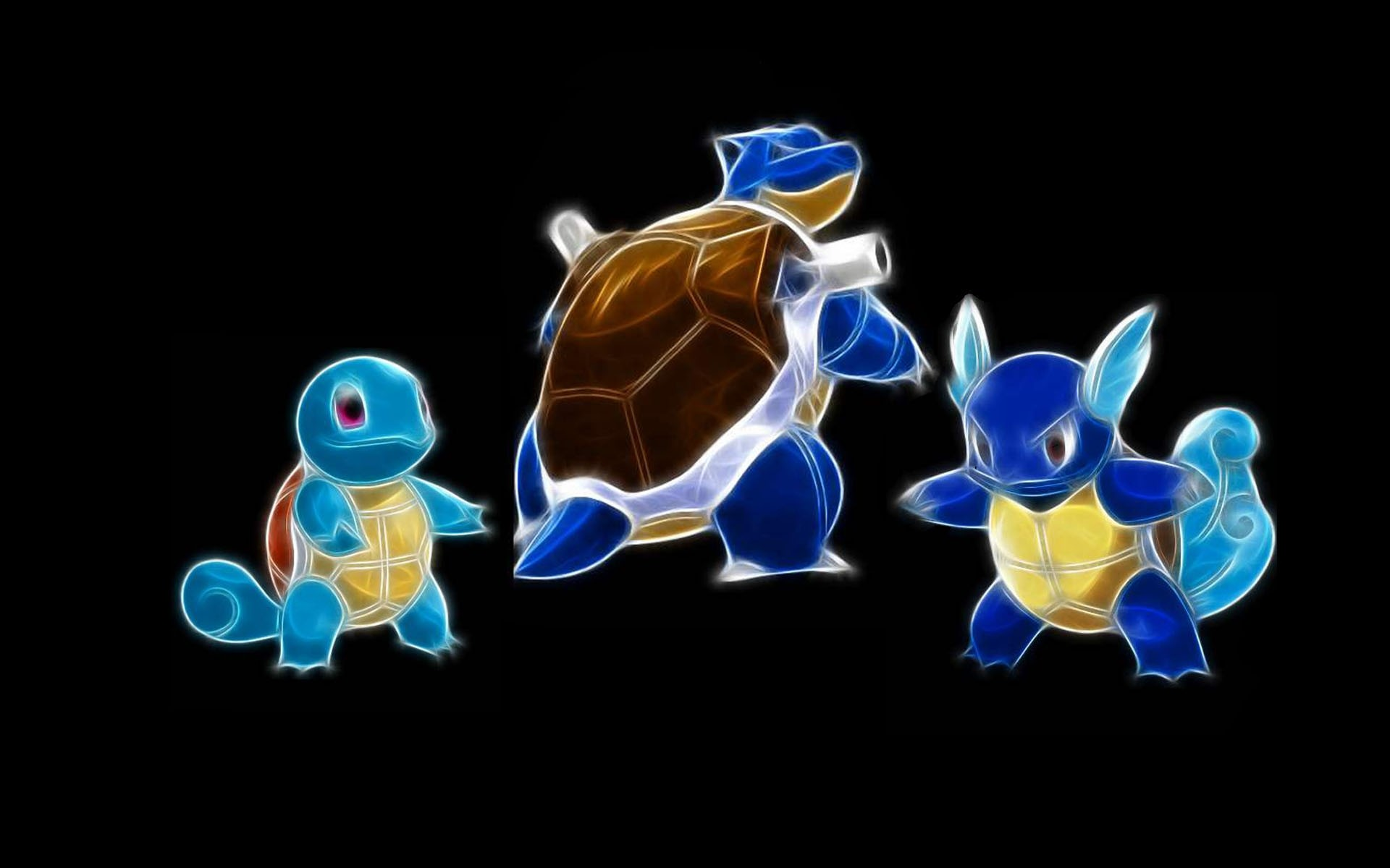 Res: 1920x1200, pokemon wartortle squirtle blastoise black background  wallpaper  Art HD Wallpaper