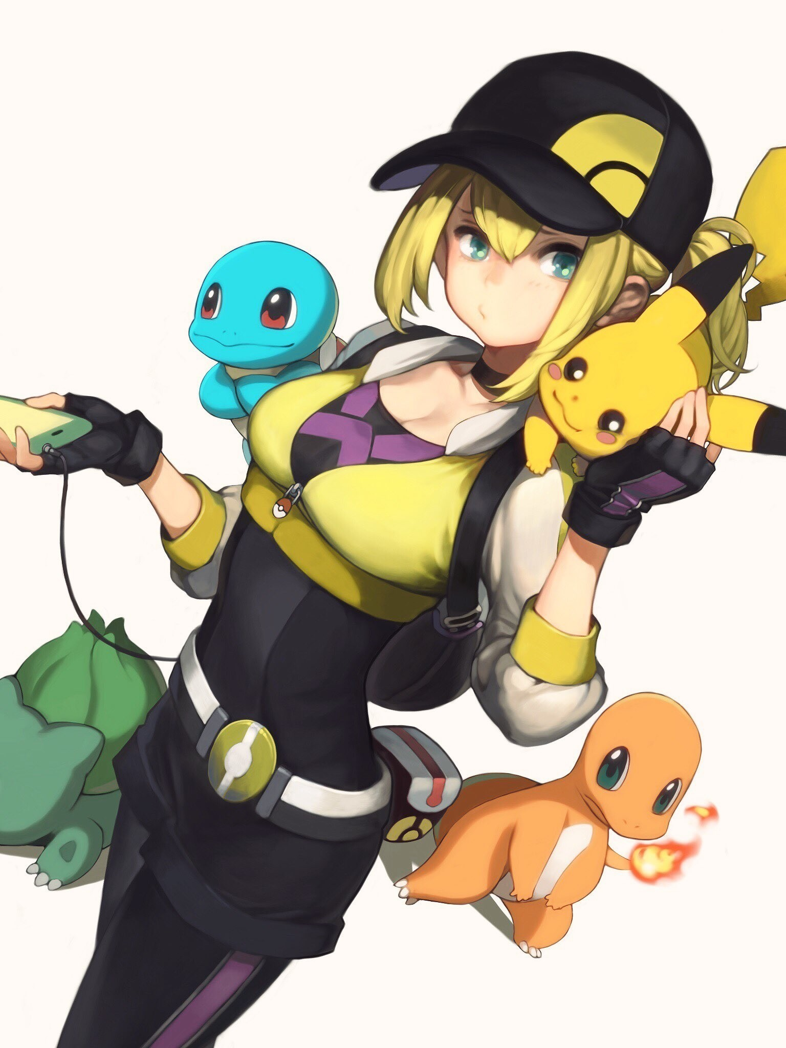 Res: 1536x2048, Lillie, Pokemon, Charmander, Pikachu, Bulbasaur, Squirtle