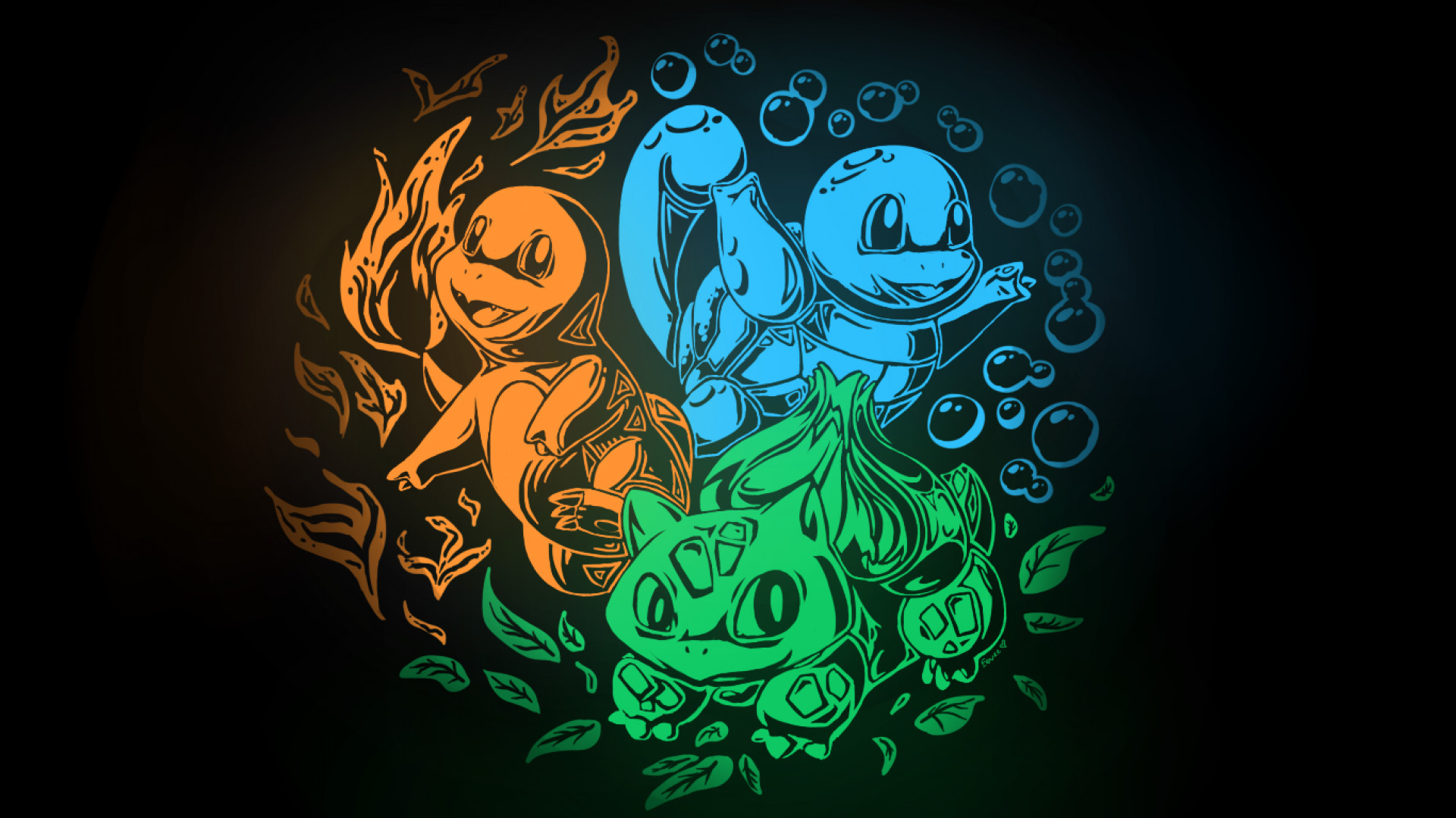 Res: 1920x1080, SimplyWallpapers.com: Bulbasaur Charmander Pokemon Squirtle kanto .