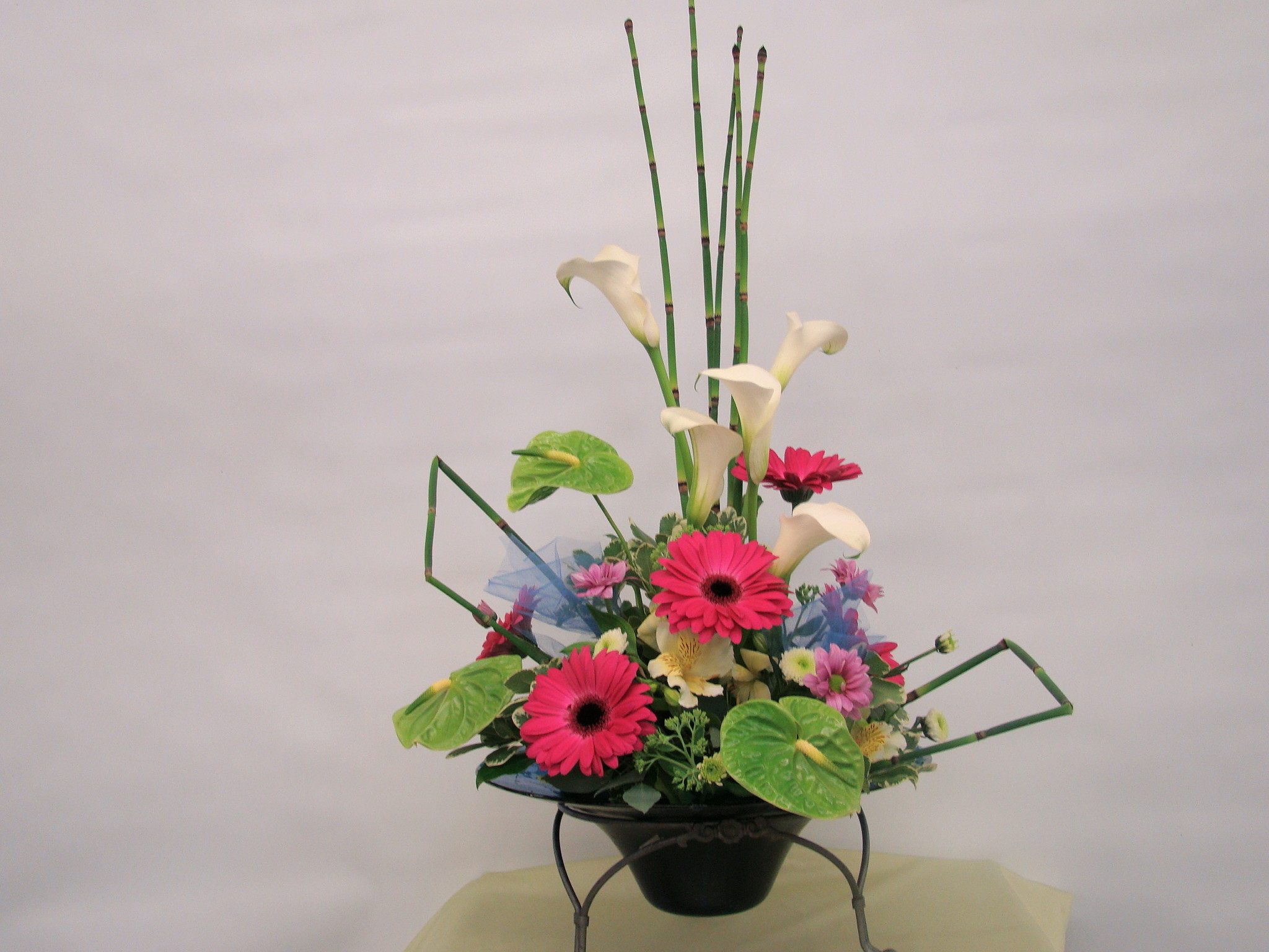 """Res: 2048x1536, One-side Japnese Ikebana style in blue vase. 20"""" X 24"""" * Calla Lilies,  Anthurium, Gerbera, Horse Tails * Business Opening, Birthday, Home party."""
