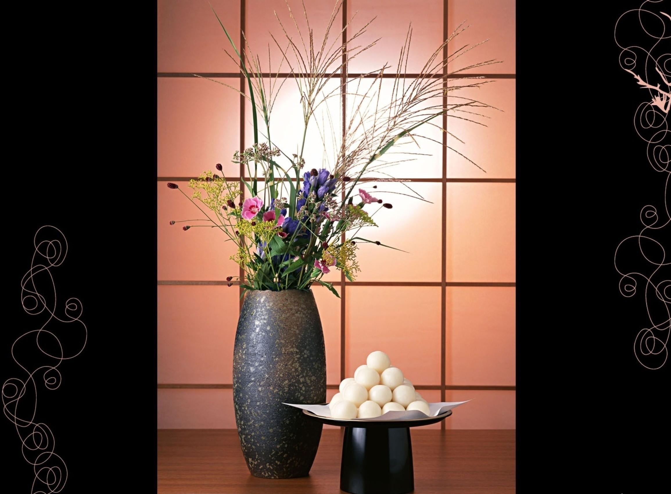 Res: 2310x1700, 3D wallpapers. black background, patterns, sliding partition, floor vase,  ikebana