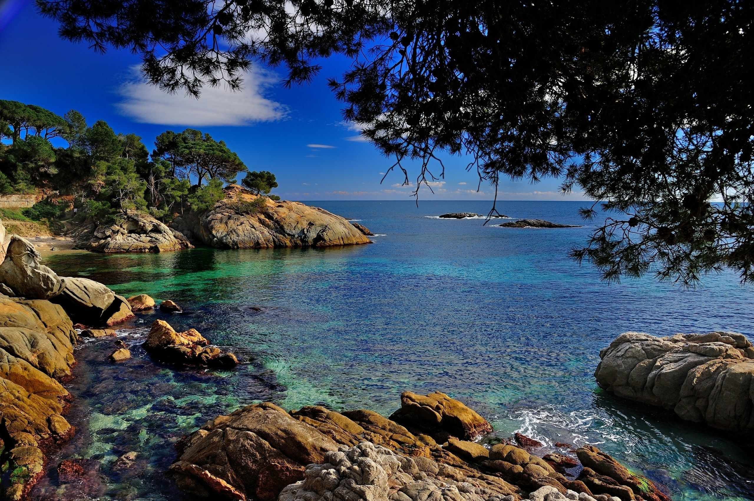Res: 2560x1703,  Wallpaper stones, Costa Brava, Mediterranean Sea, Spain, coast