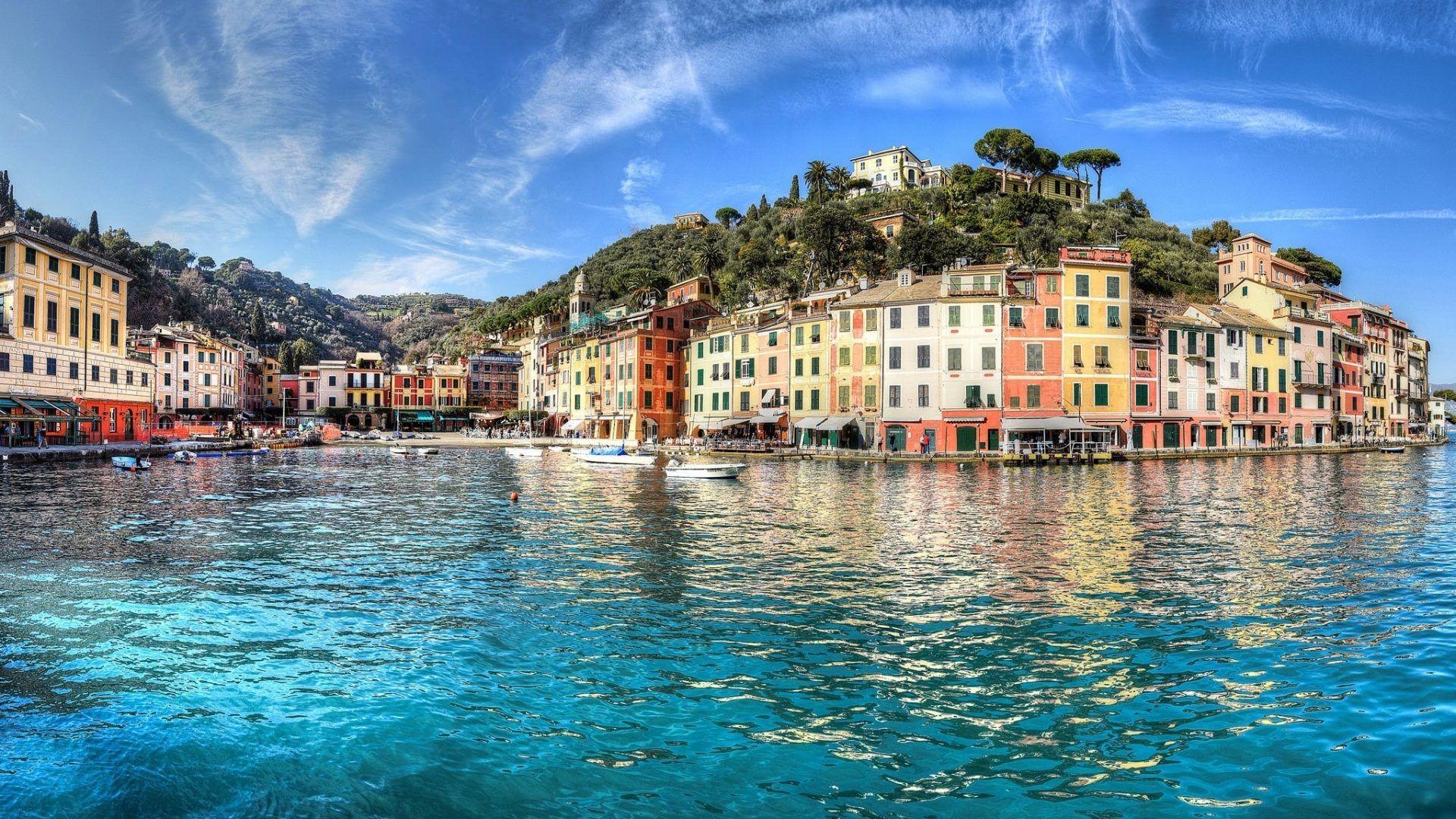 Res: 1920x1080, Portofino Italy Amalfi Coast Liguria Houses Mediterranean Sea Free Desktop  Wallpaper