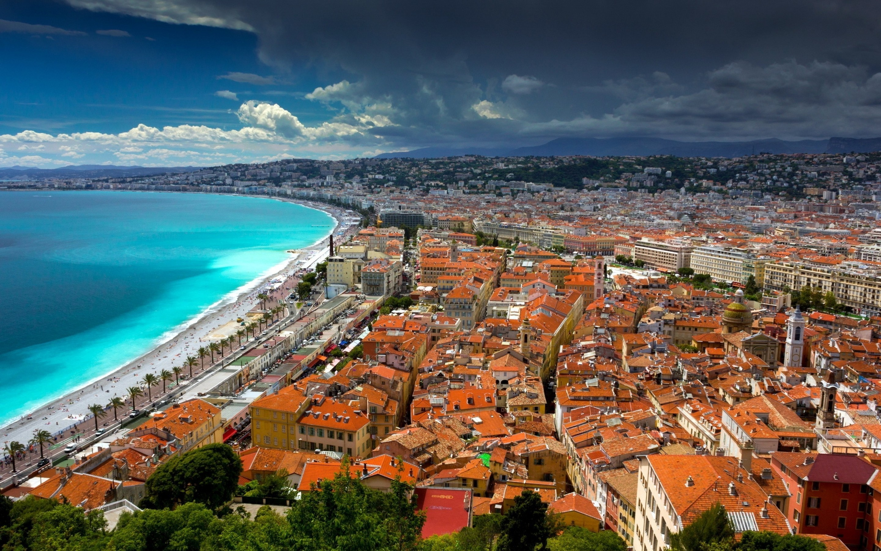 Res: 2880x1800, France, Nice, Mediterranean, Houses, Clouds