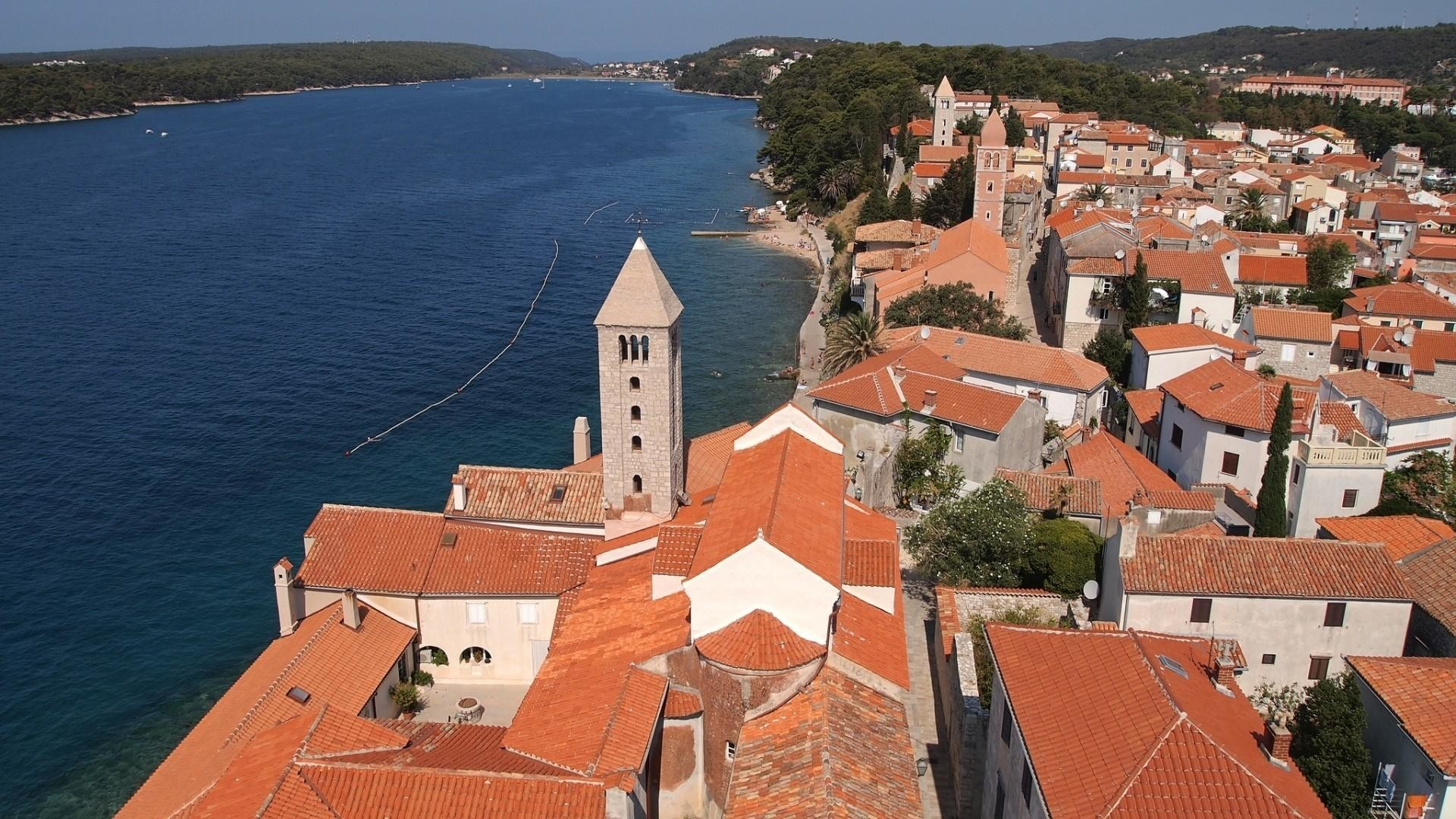 Res: 1920x1080,  Town church croatia mediterranean sea rab adriatic wallpaper .