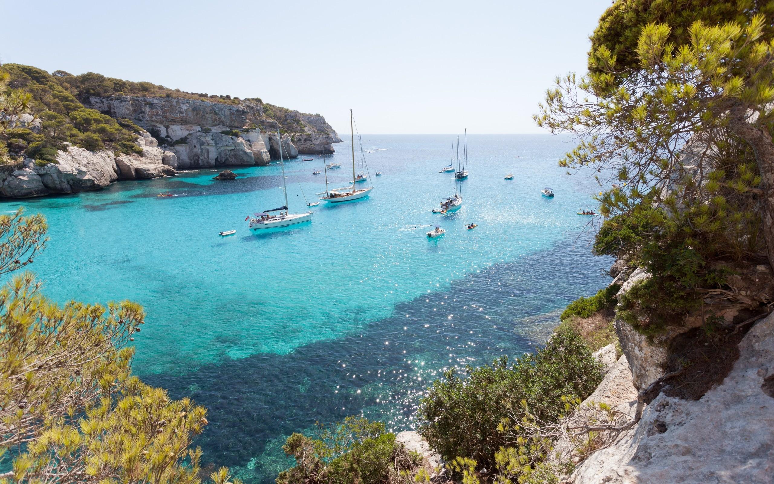 Res: 2560x1600, Mediterranean Sea, bay, summer, yachts, sailboats, boats, travel, vacation