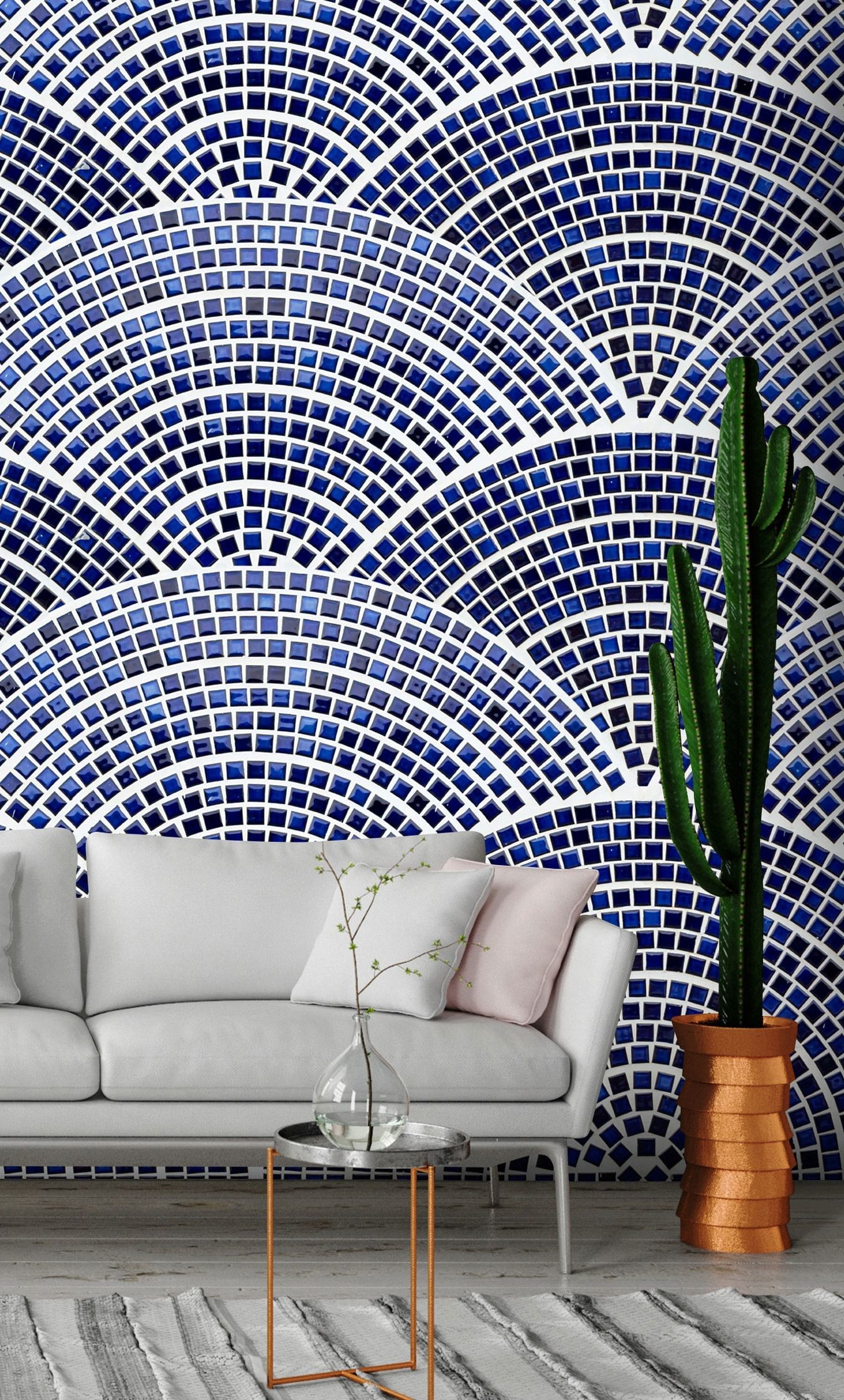 """Res: 1356x2248, Wallpaper """"Semicircular Mosaic"""" with geometric patterns of oversized blue  scales. This non-woven photo wall mural looks exquisitely natural on walls  and ..."""