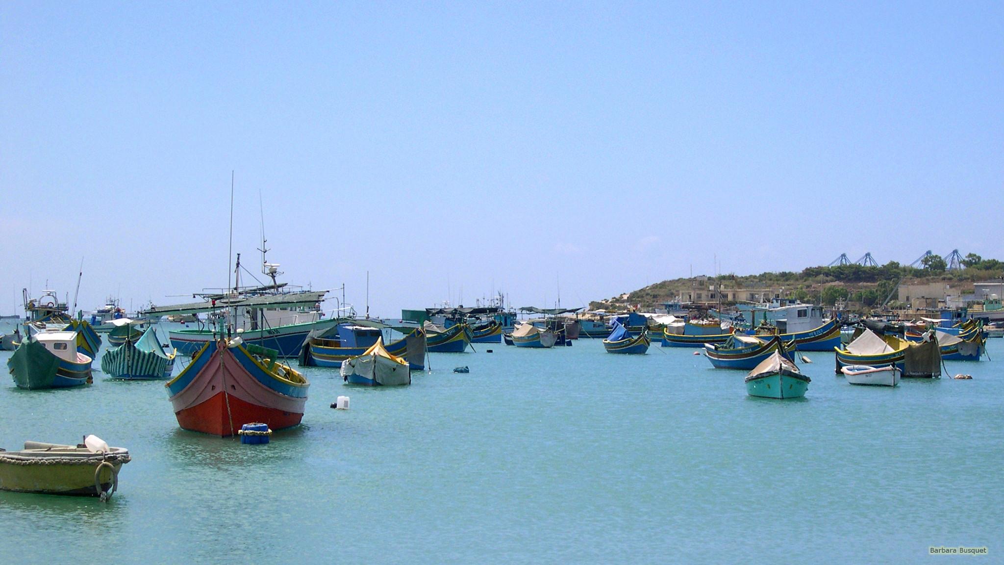 Res: 2048x1152, Malta wallpaper boats in blue Mediterranean Sea