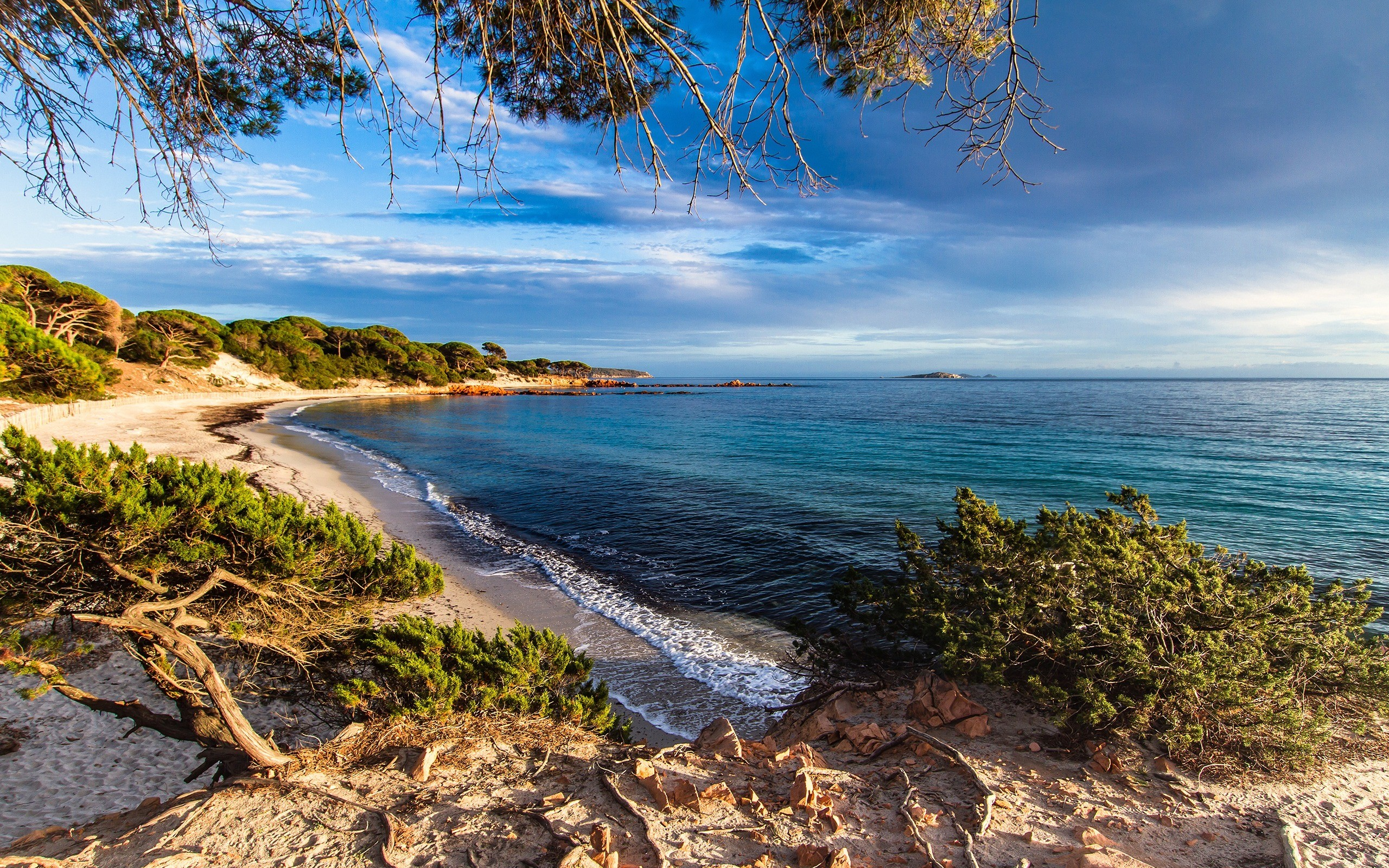 Res: 2560x1600, Corsica, Mediterranean Sea, France, beach, morning, sunrise, coast