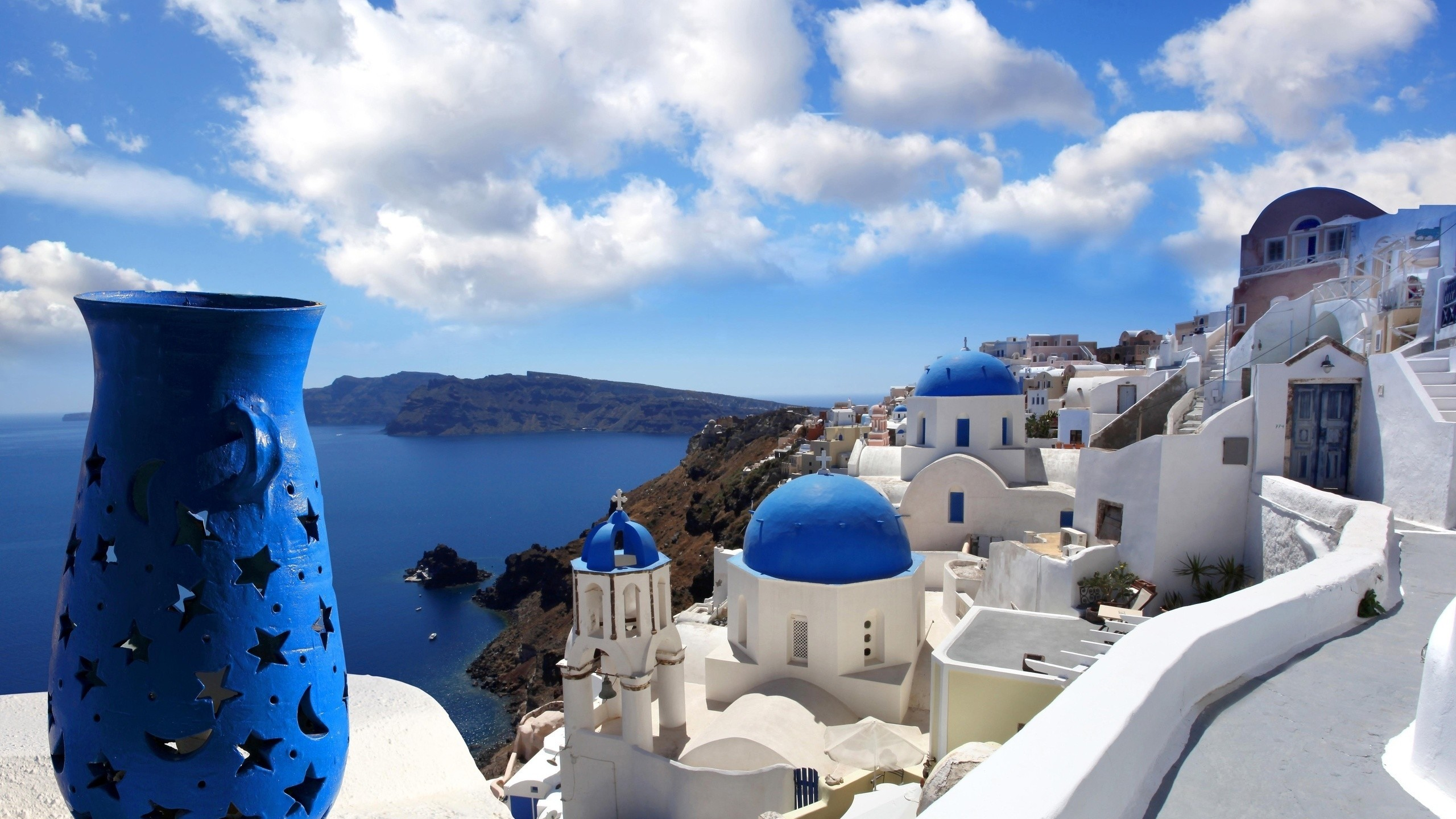 Res: 2560x1440, Category wallpaper | White staircases and Mediterranean sea view on  Santorini, Greece, full type
