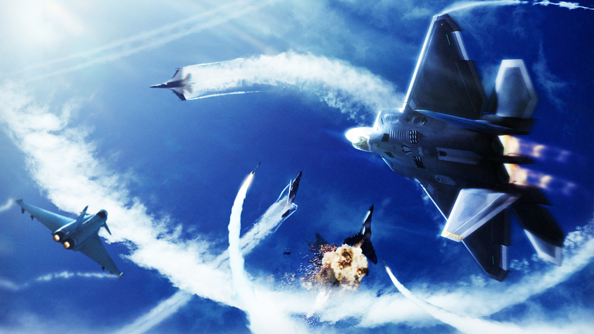 Res: 1920x1080, Wallpapers Ace Combat Fighter Airplane Airplane Explosions Games   Fighter aircraft