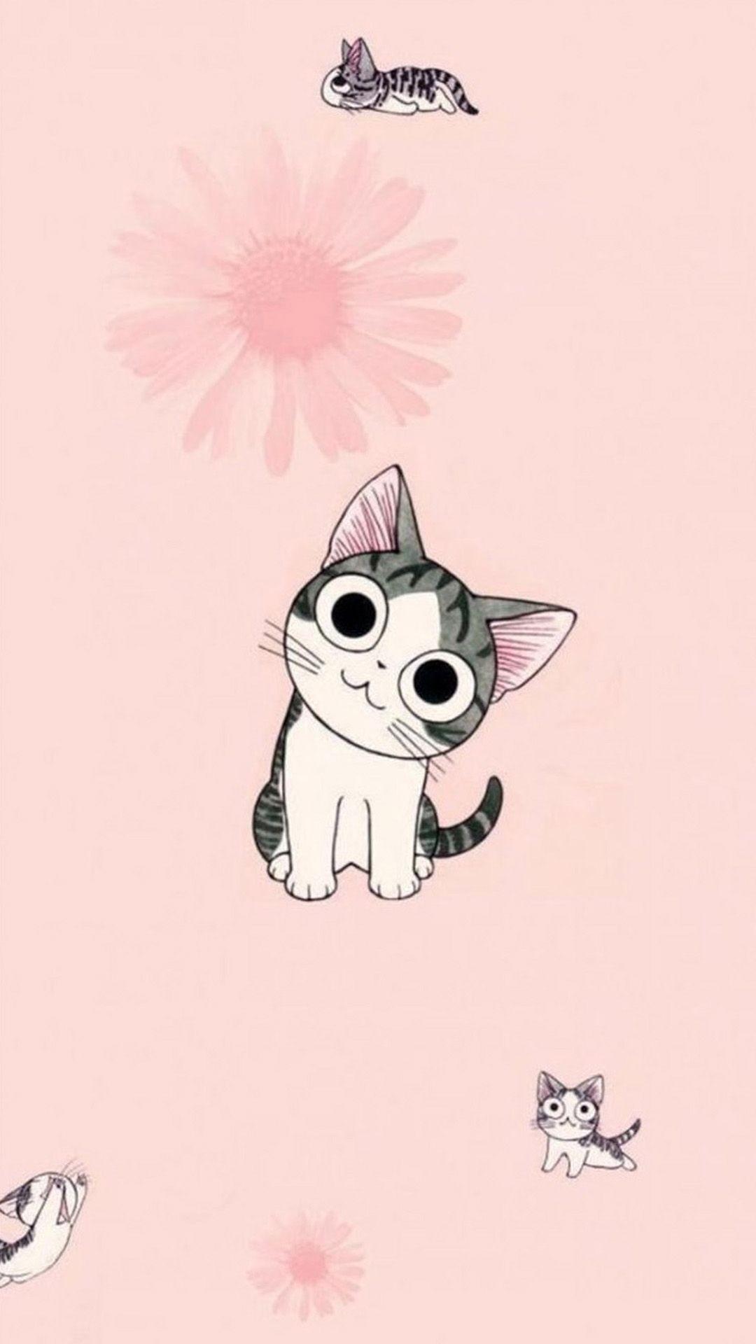 Res: 1080x1920,  Cute Cartoon Cat Wallpaper - WallpaperSafari | Adorable Wallpapers