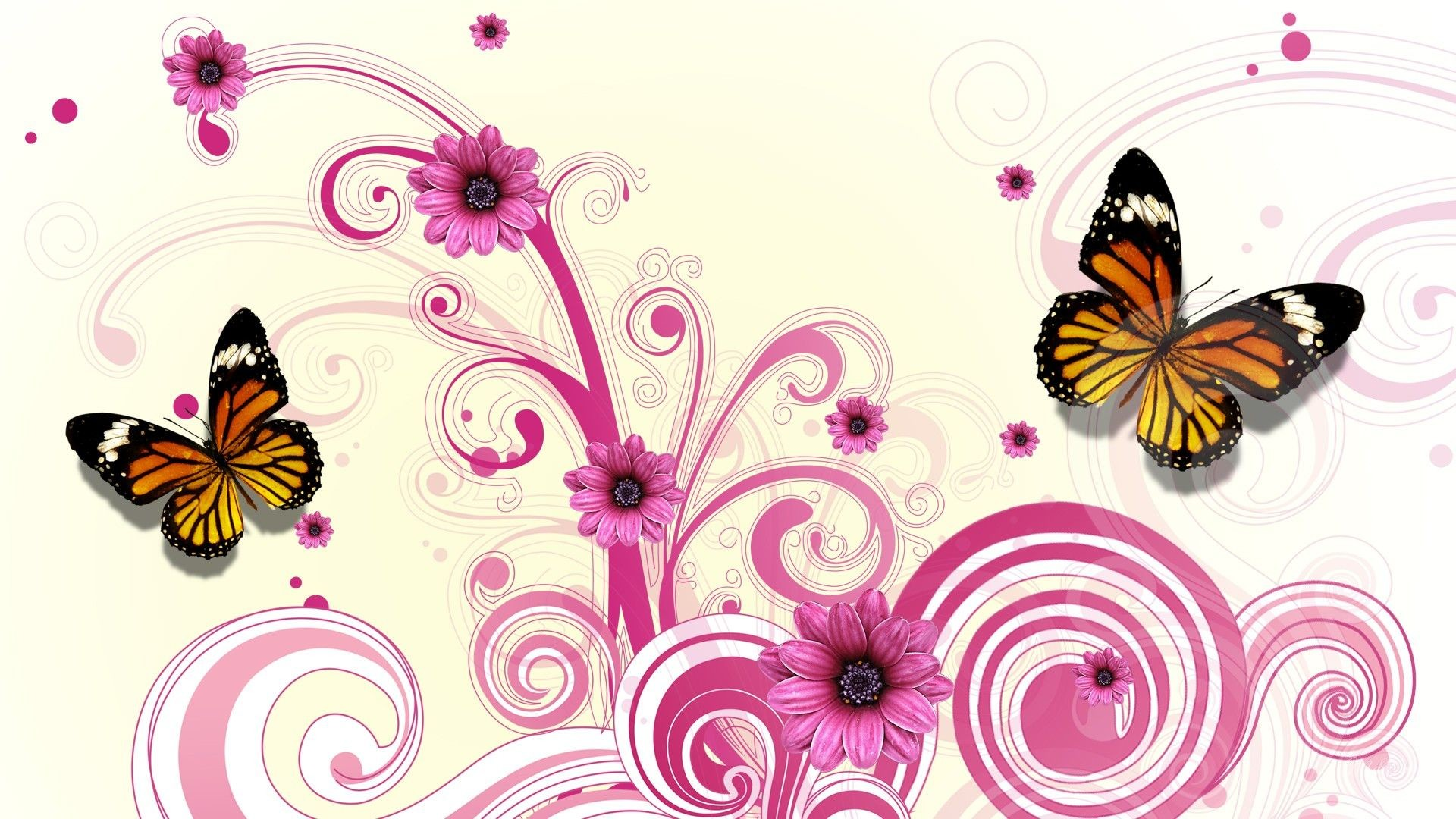 Res: 1920x1080, Pink Floral | Download Vector Floral Pink Flowers Abstract Butterfly  wallpaper .