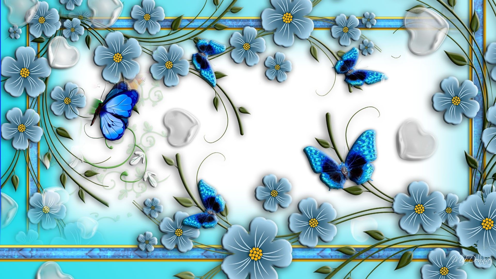 Res: 1920x1080, Download Blue Butterflies Abstract Flowers Unique Nature Wallpaper .