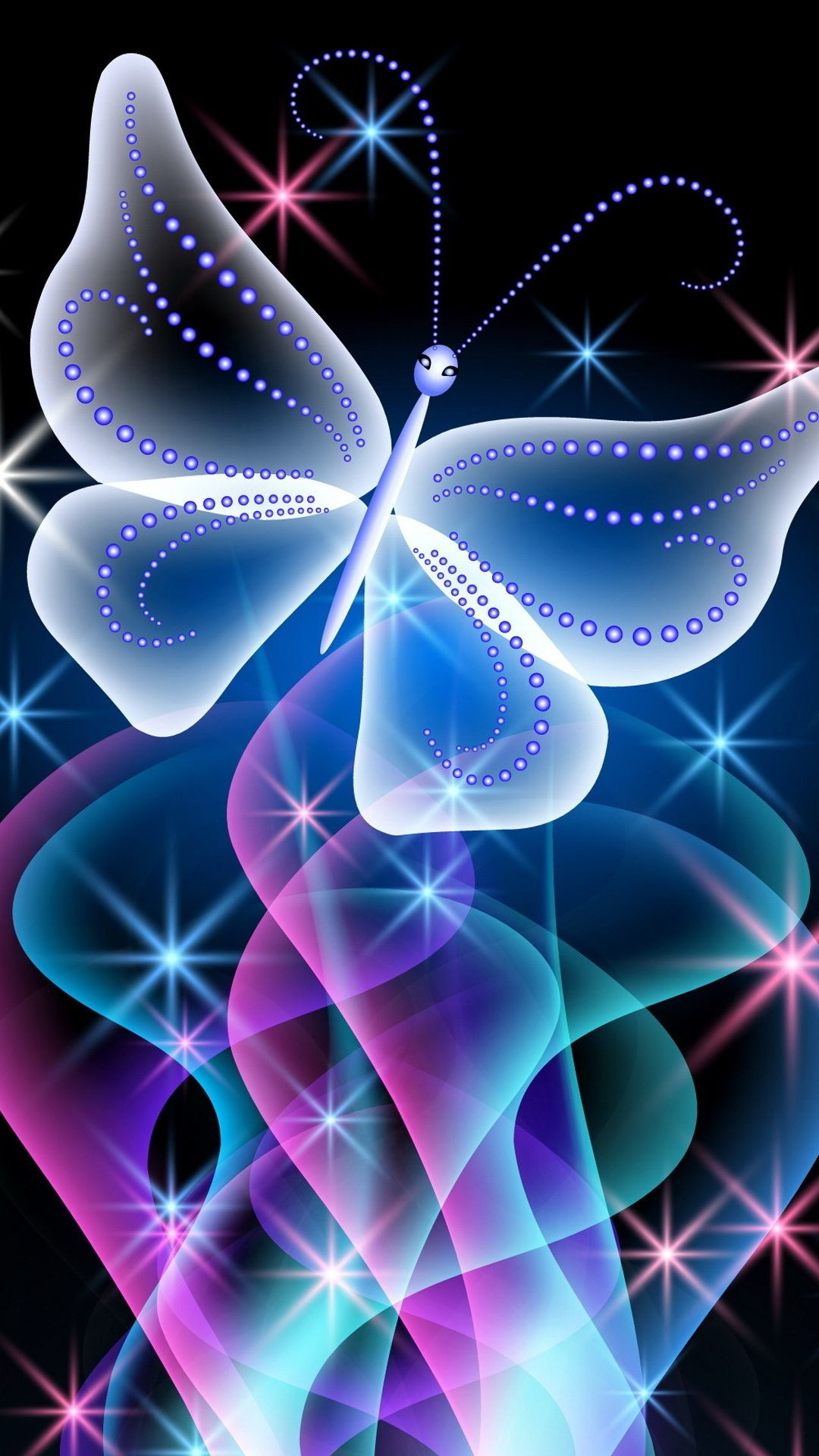 Res: 1080x1920,  neon, abstract, butterfly, pink, glow, butterfly .