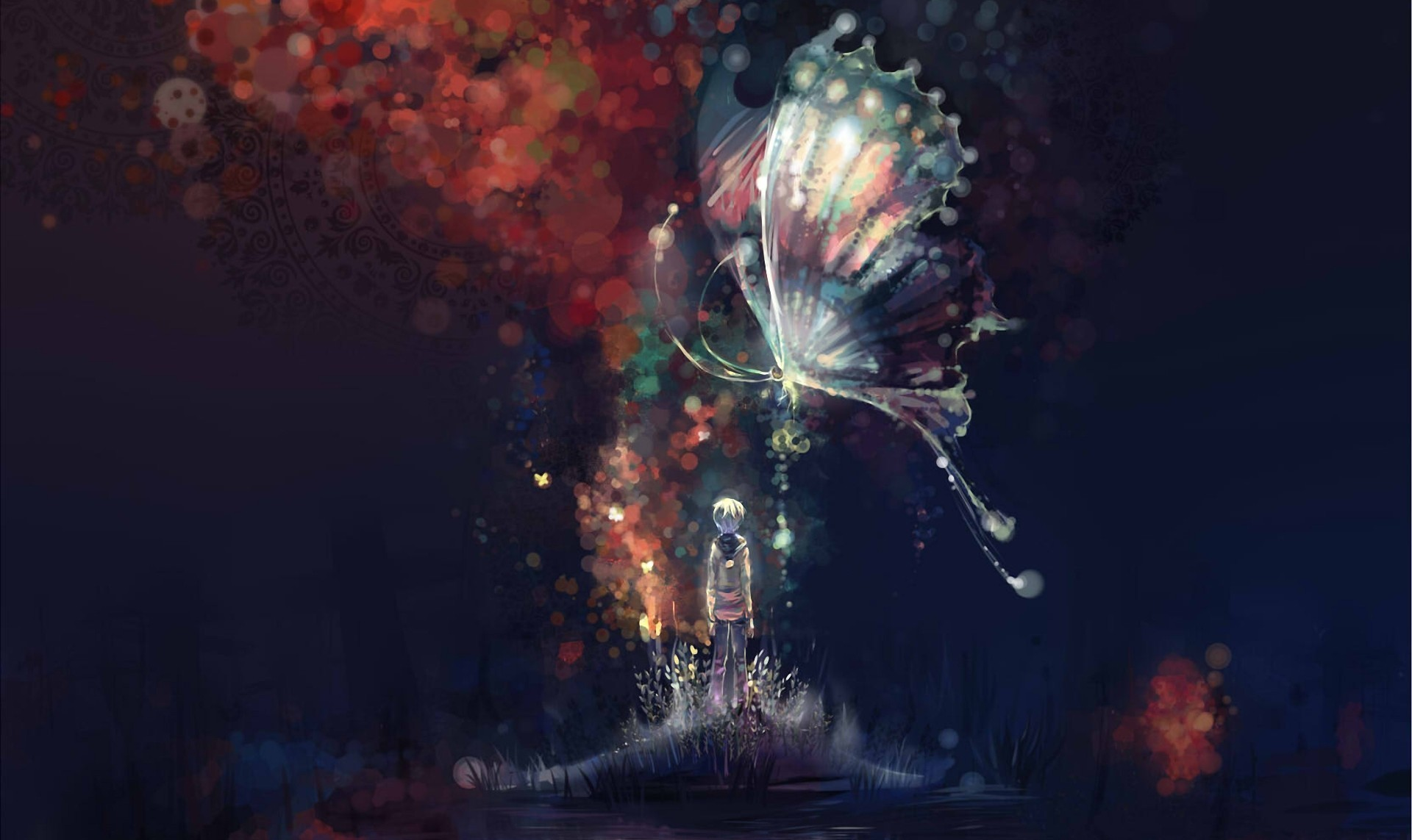 Res: 1920x1143, art, Night, Abstract, Butterfly, Boy, Island, Water, Lake, Anime, Original  Wallpapers HD / Desktop and Mobile Backgrounds