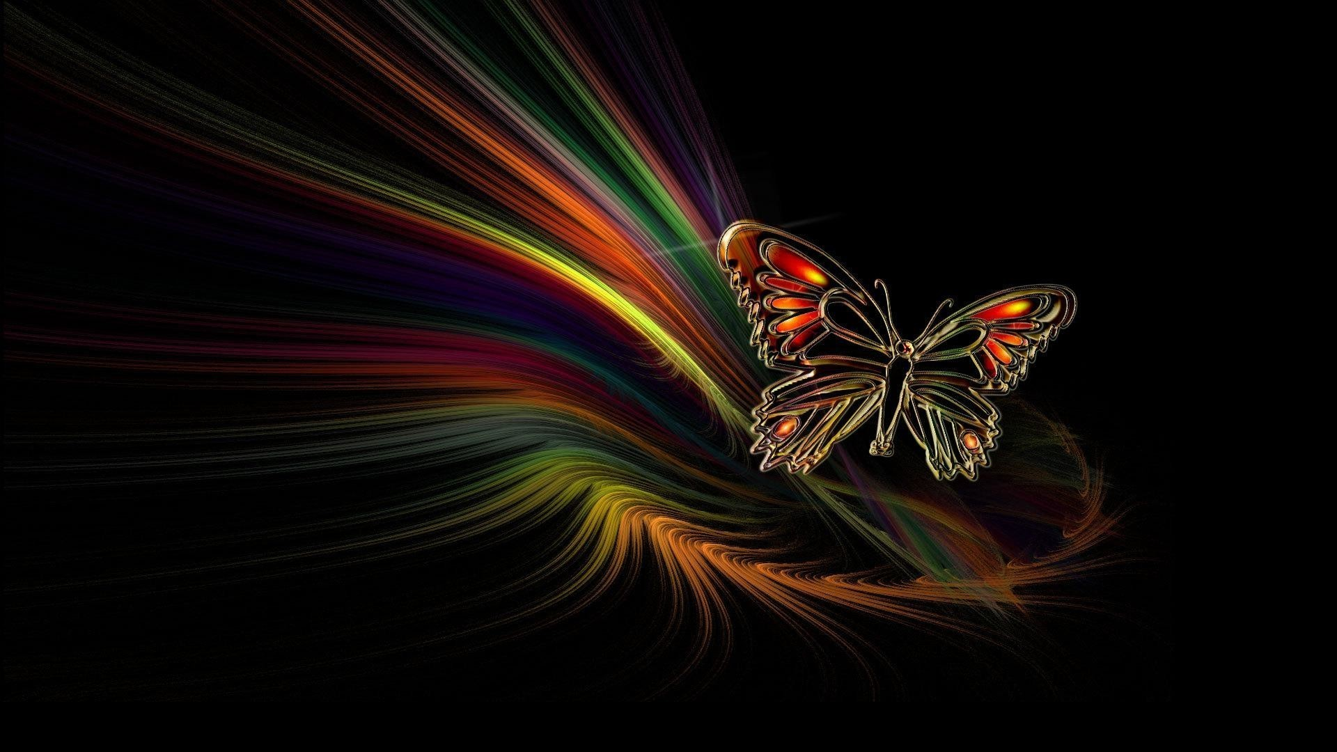 Res: 1920x1080, neon butterfly abstract ...