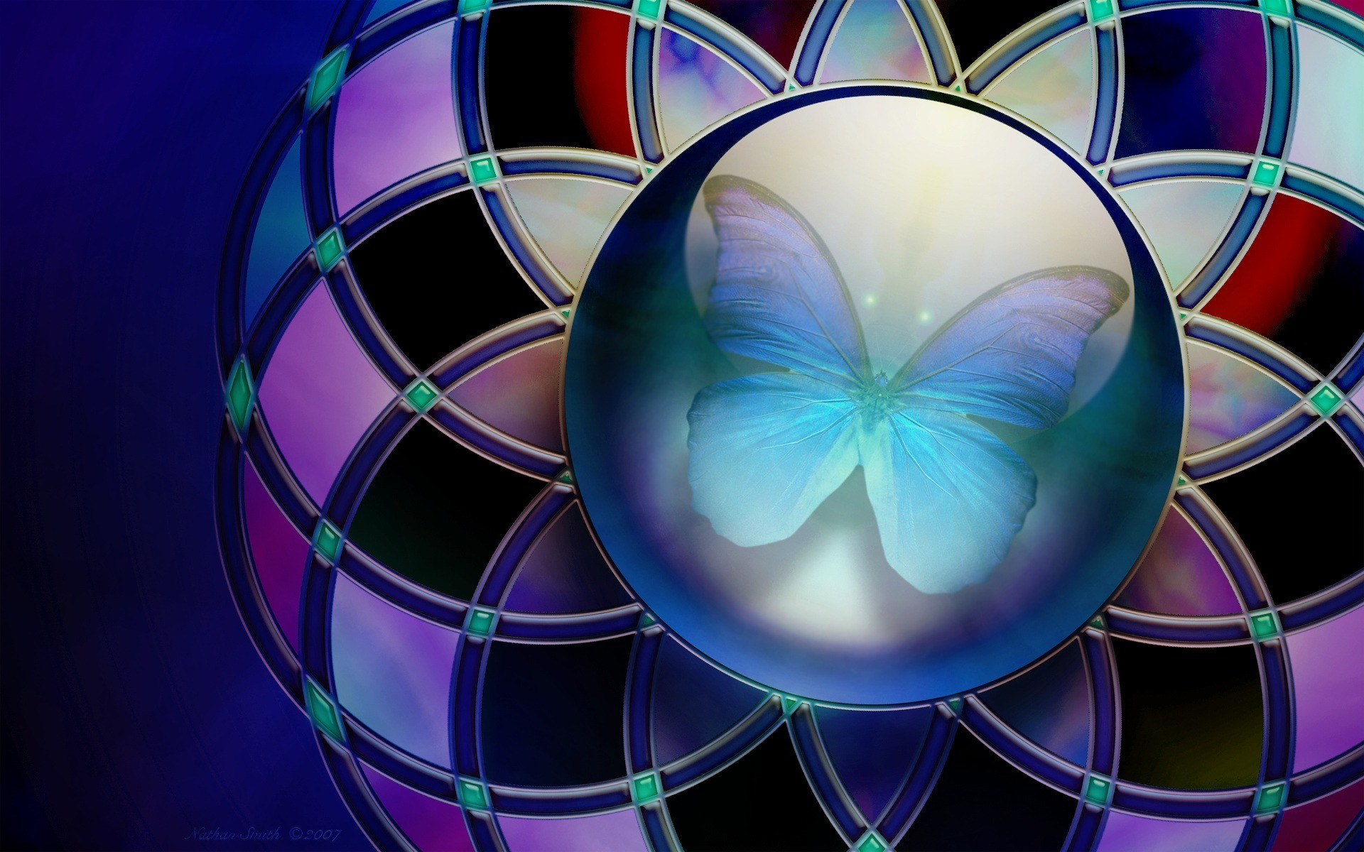 Res: 1920x1200, Abstract · Blue · Butterfly · Purple