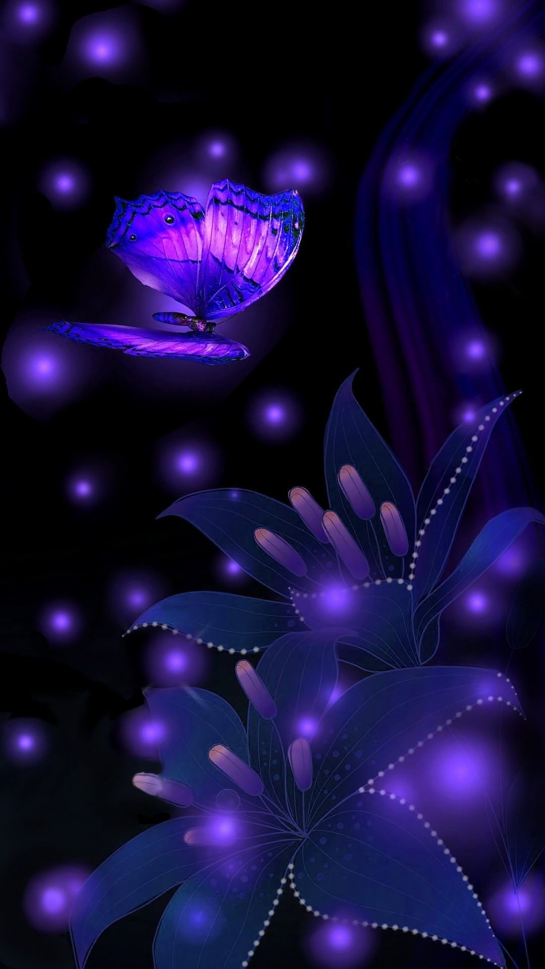 Res: 1080x1920, Abstract night magic- butterfly and flower wallpaper ♡