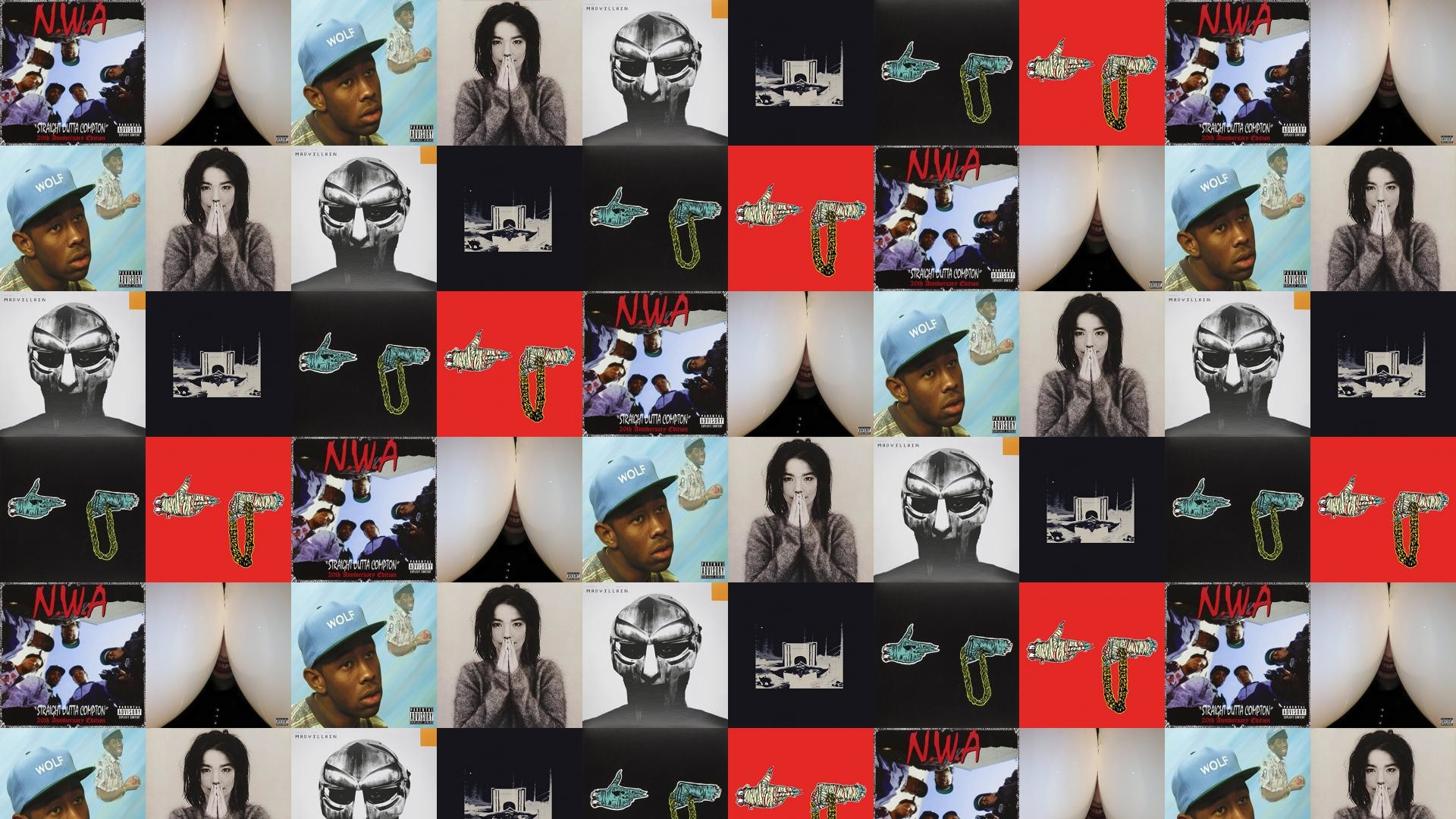 Res: 1920x1080, Download this free wallpaper with images of NWA – Straight Outta Compton,  Death Grips – Bottomless Pit, Tyler The Creator – Wolf, Bjork – Debut, ...