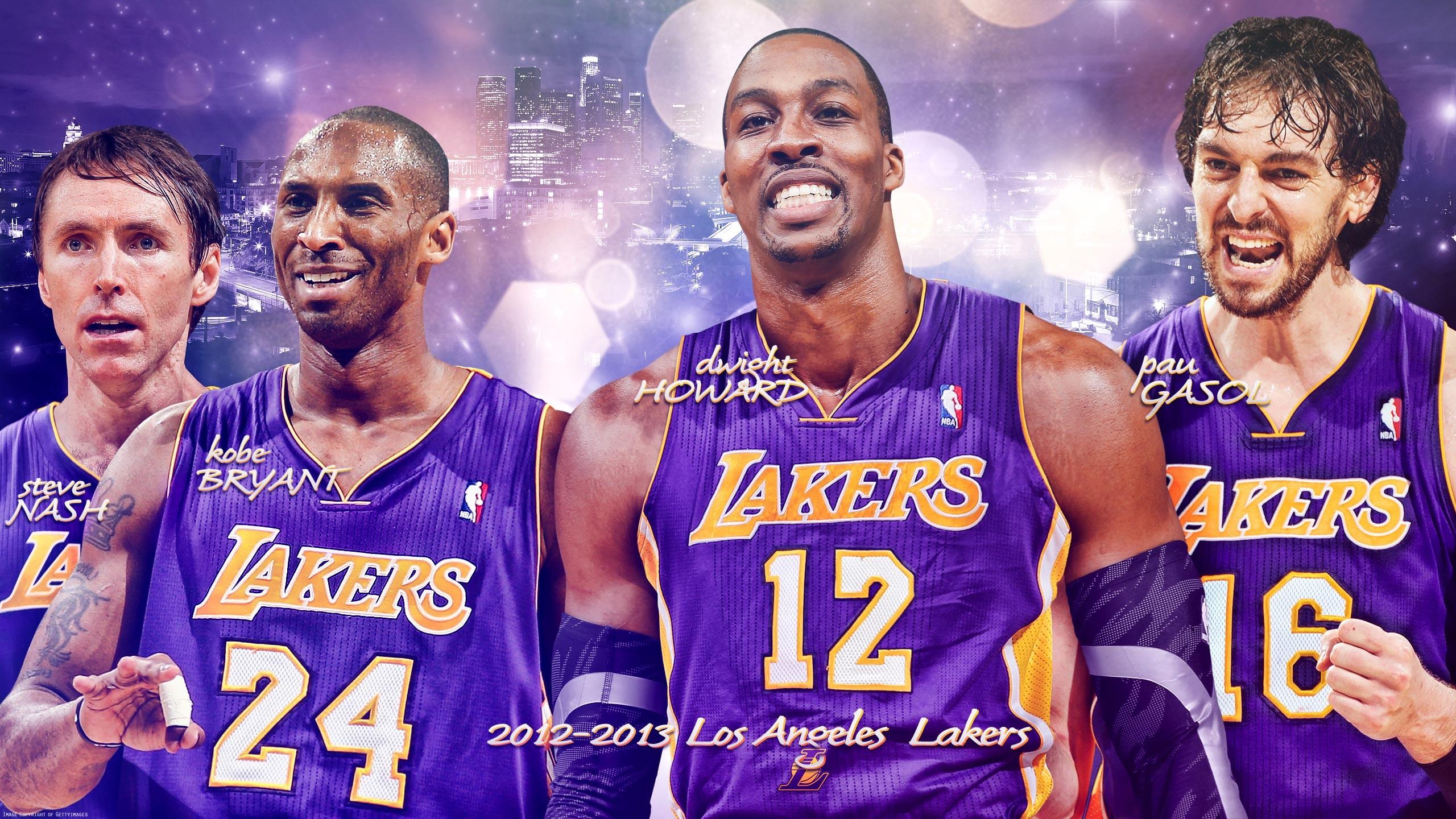 Res: 2560x1440, Los Angeles Lakers Big 4  Wallpaper