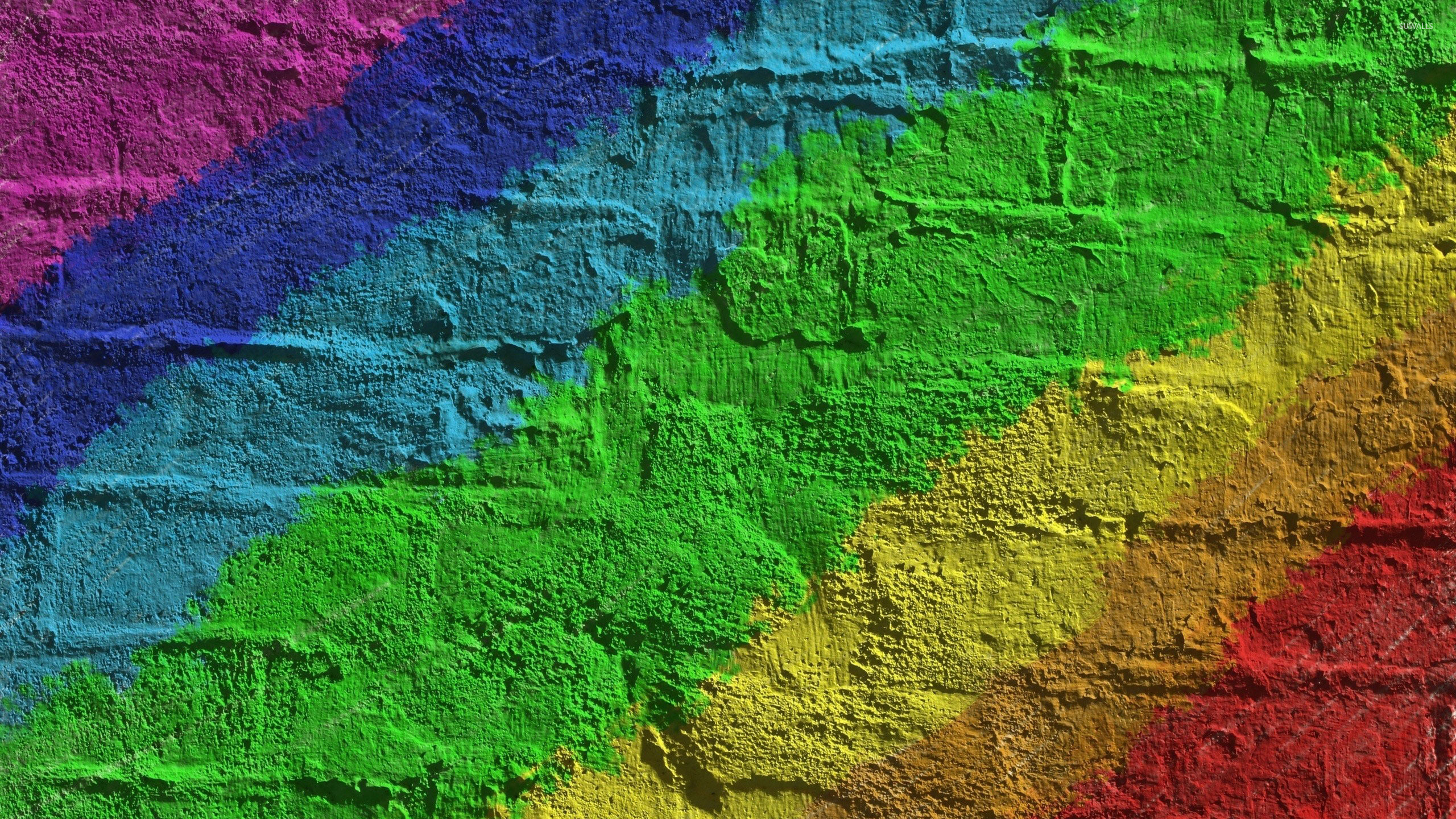 Res: 2560x1440, Rainbow colored brick wall wallpaper