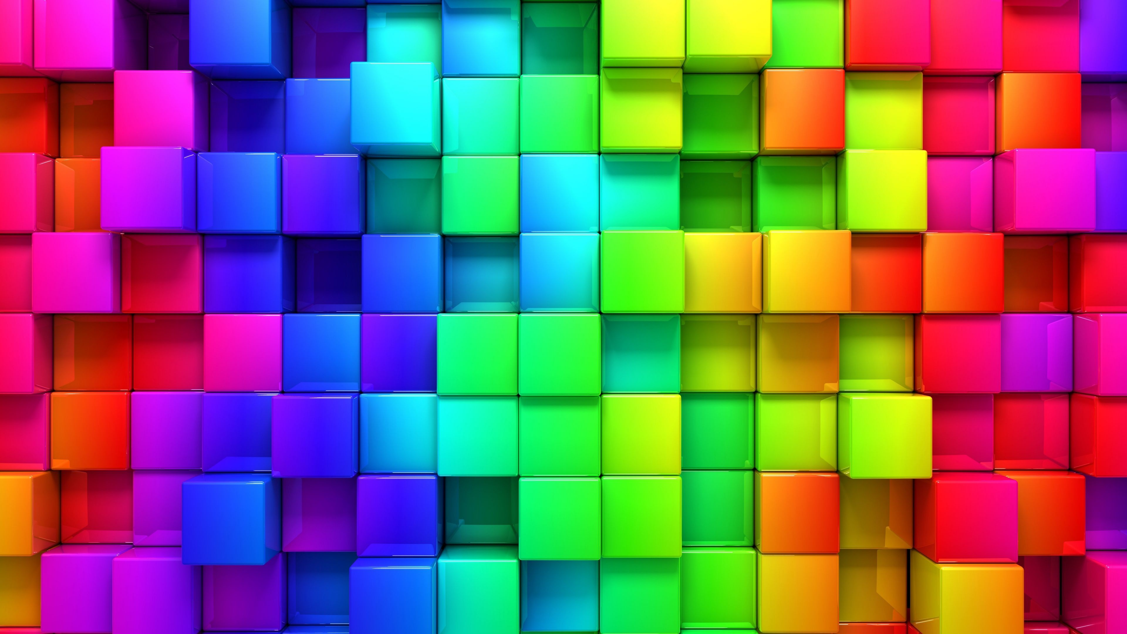 Res: 3840x2160,  Wallpaper blocks, rainbow, 3d graphics, background