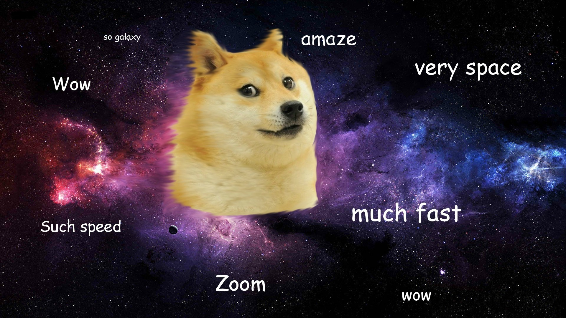 Res: 1920x1080, Doge in SPACE, Wow, so galaxy, much fast