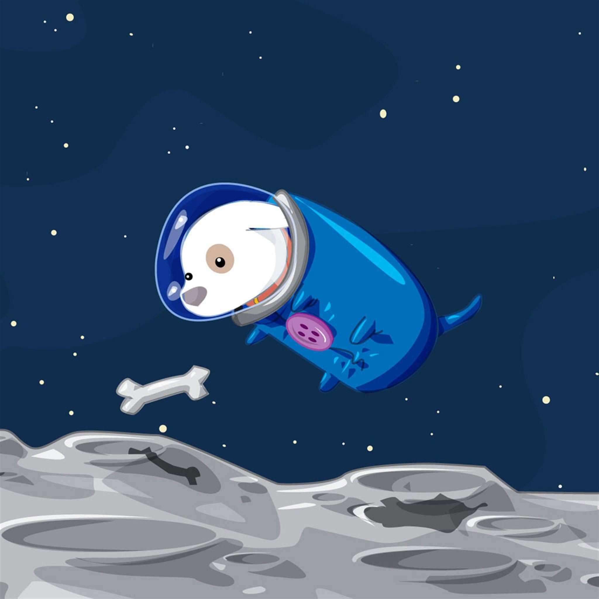 Res: 2048x2048, The space dogs find food iPad Air Wallpapers
