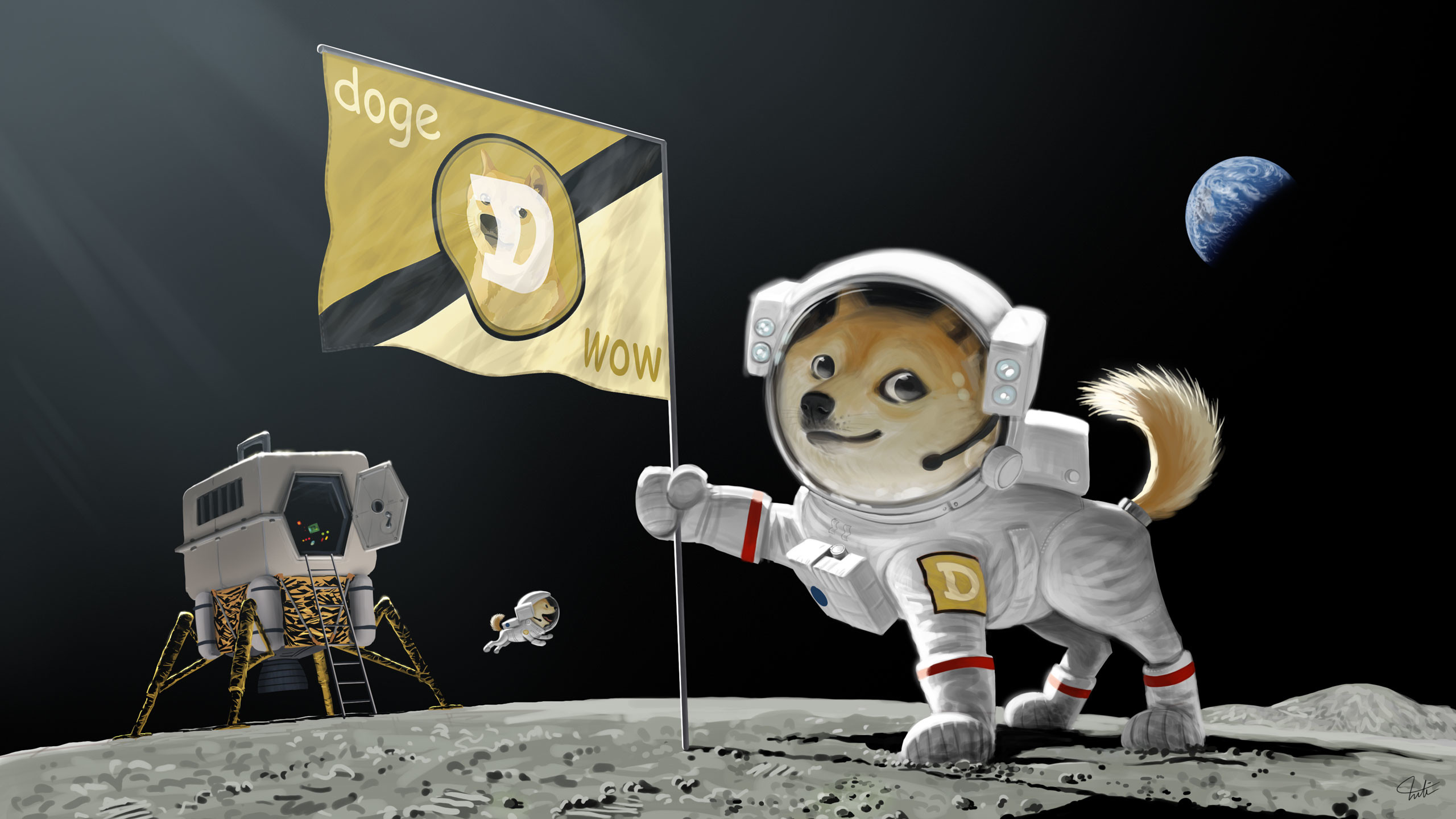 Res: 2560x1440, doge dogecoin memes moon space