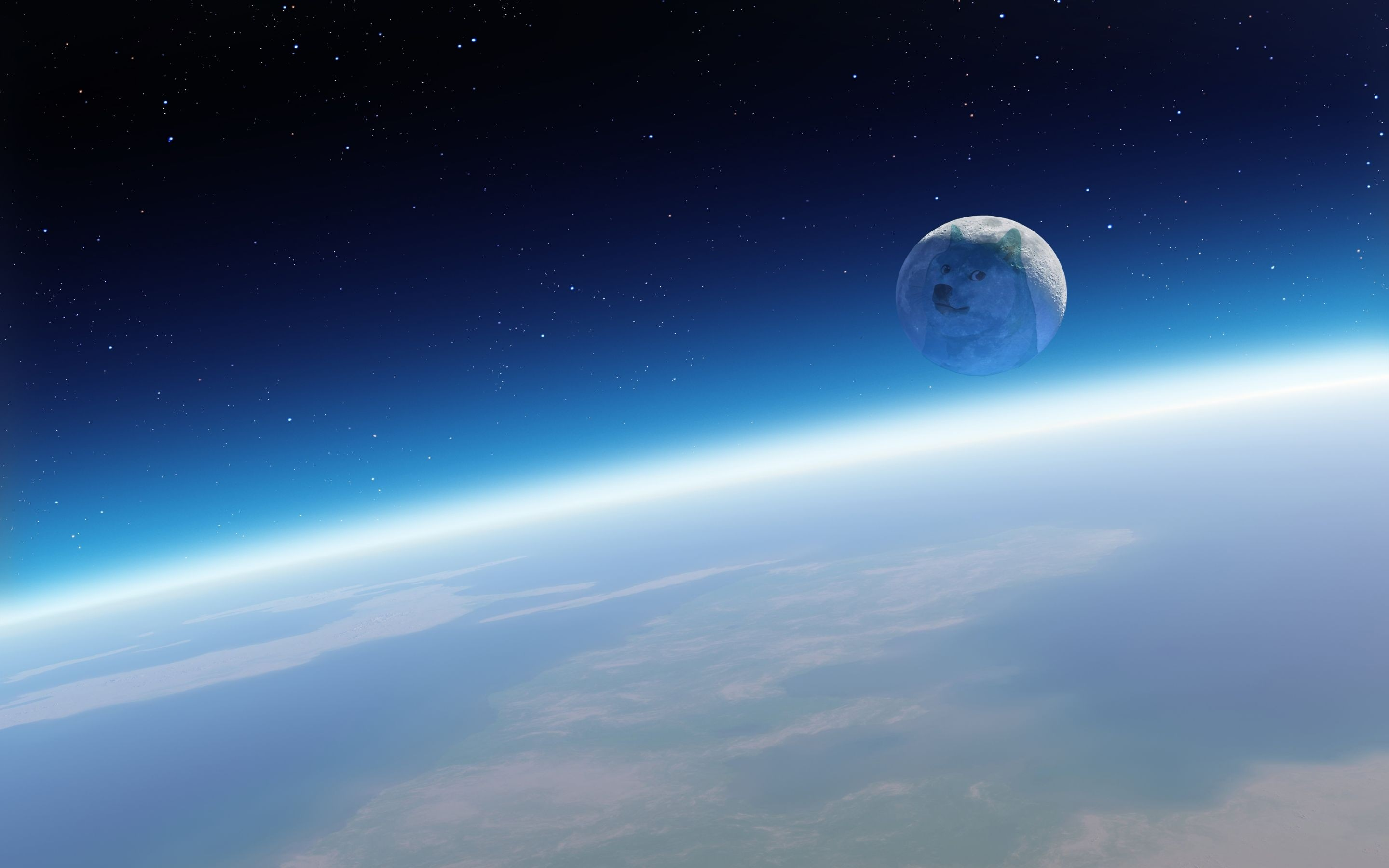 Res: 2880x1800, Space moon doge, moon like a dog