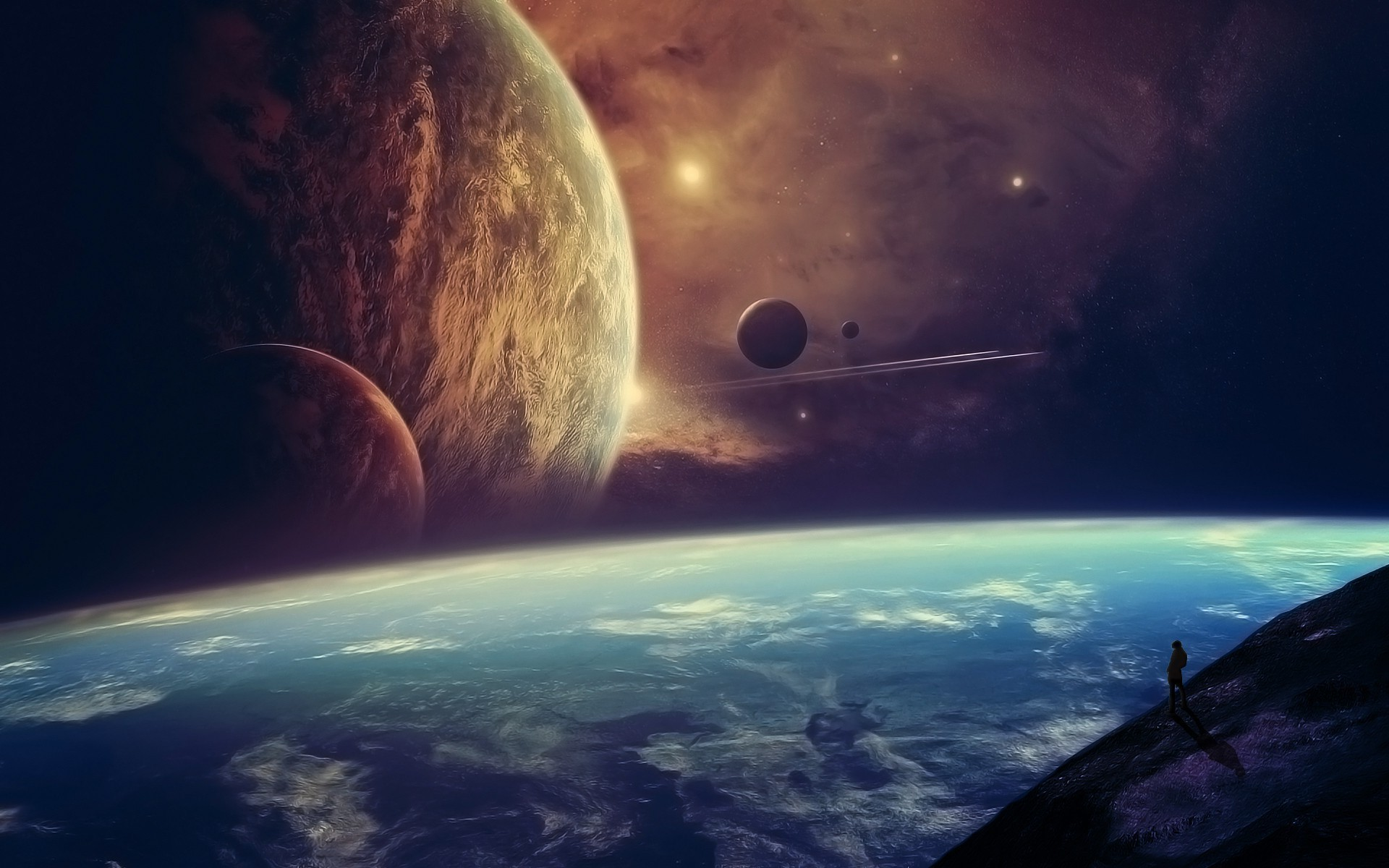Res: 1920x1200, space art planet moon artwork science fiction wallpaper and background