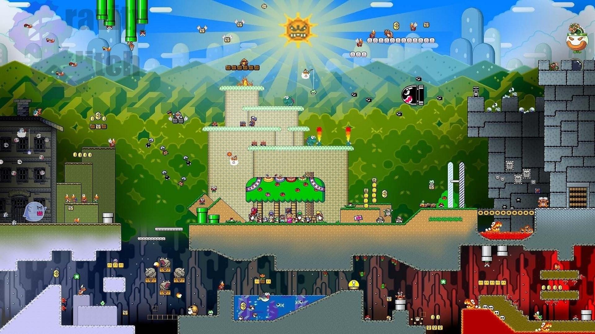 Res: 1920x1080, Computerspiele - Mario Nintendo Kollage Super Mario World Super Nintendo  SNES Wallpaper