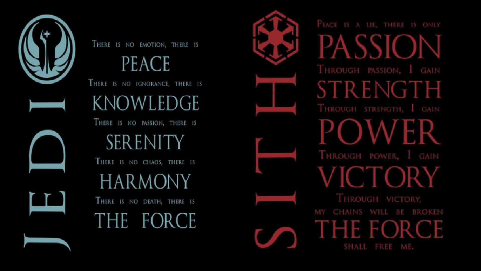 Res: 1920x1080, Put the Jedi & Sith Codes together for my wallpaper