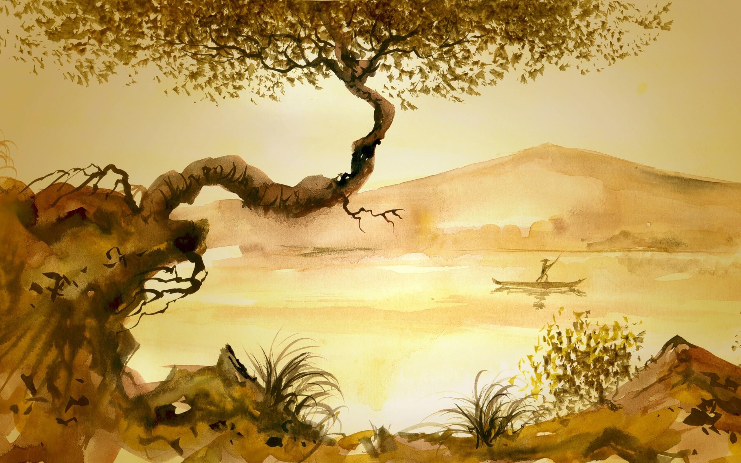 Res: 2560x1600, Junk Man Tree Grass Asian Lake Painting Mood Wallpaper