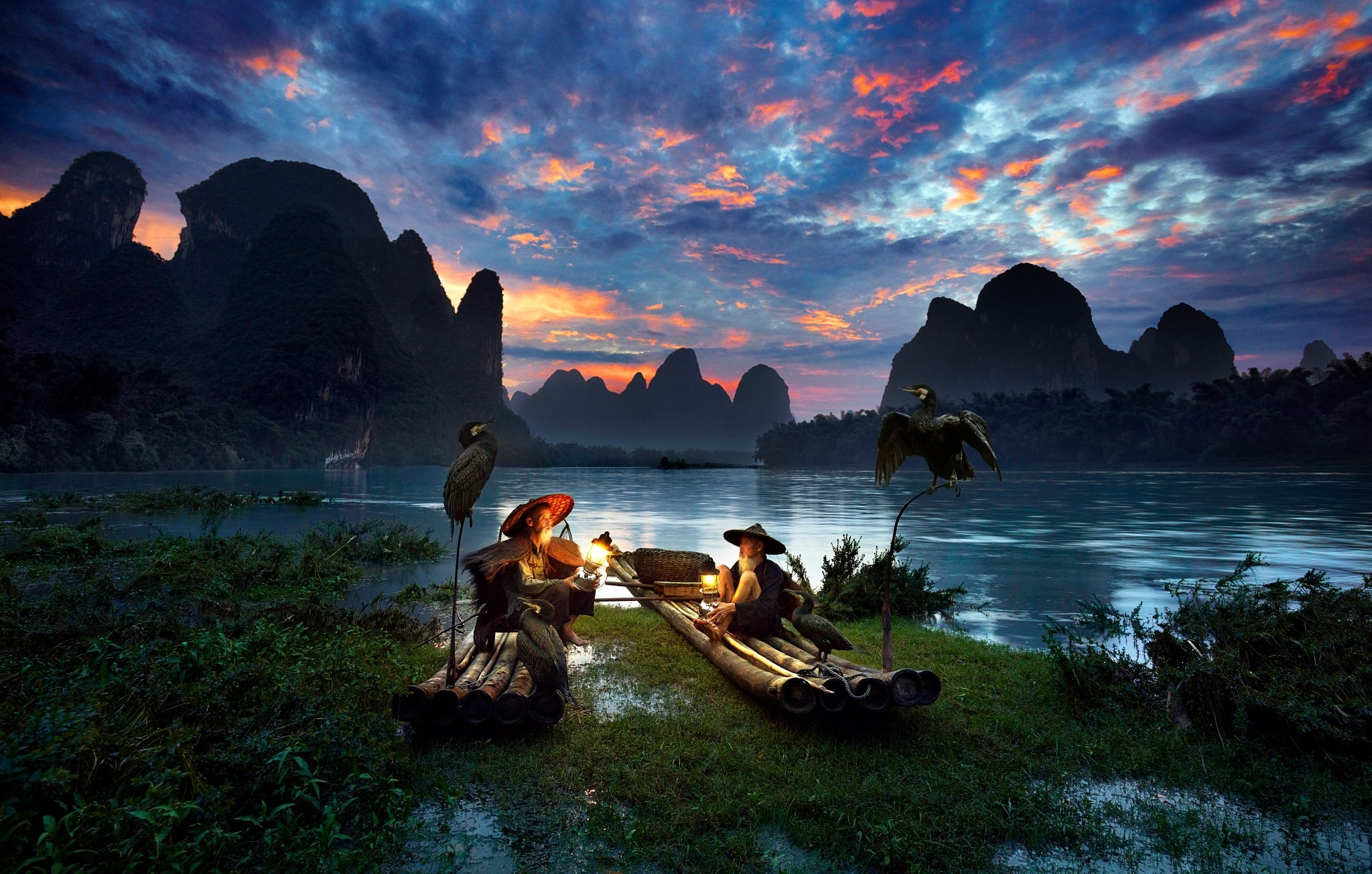 Res: 2048x1306, men, Nature, River, Birds, Asian, Mountain, China Wallpapers HD / Desktop  and Mobile Backgrounds