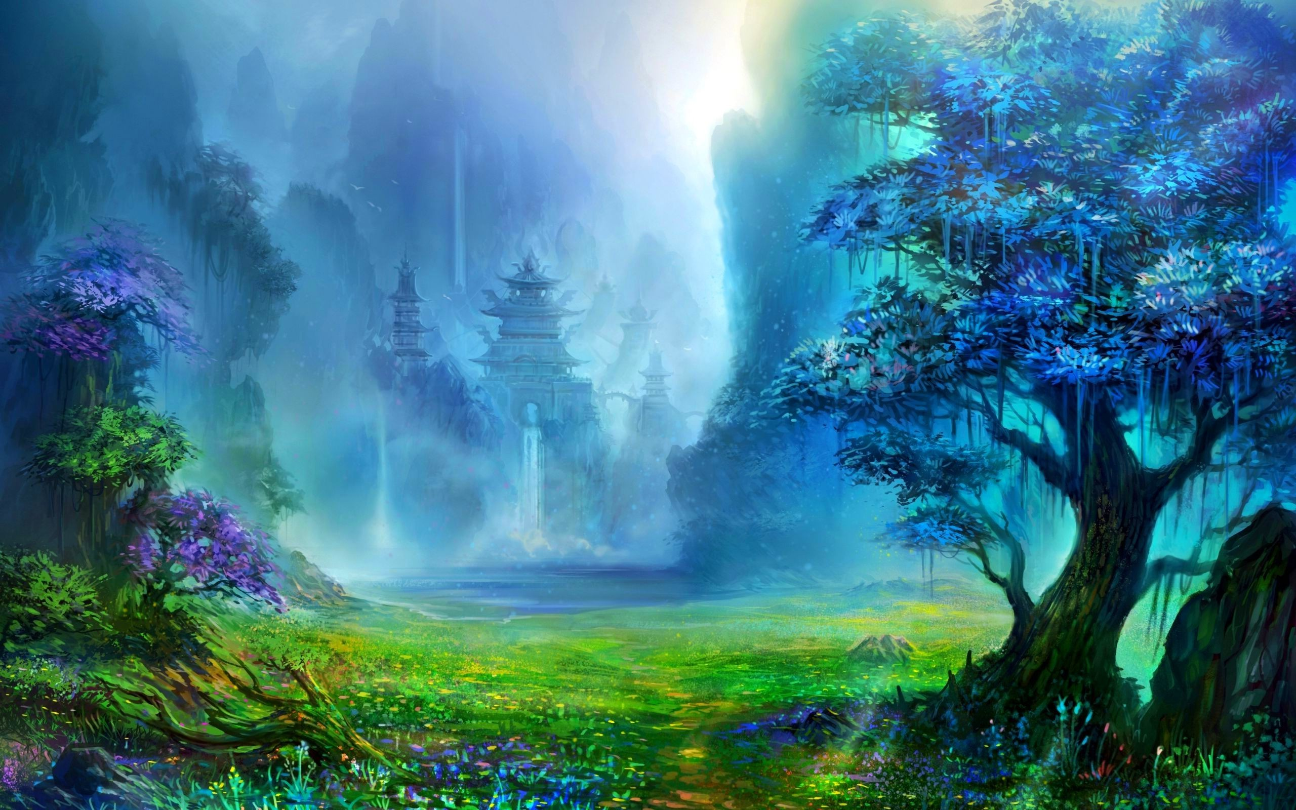 Res: 2560x1600, fantasy Art, Pagoda, Asian Architecture, Trees, Waterfall, Artwork,  Mountain, Digital Art, Nature, Landscape, Water Wallpapers HD / Desktop and  Mobile ...