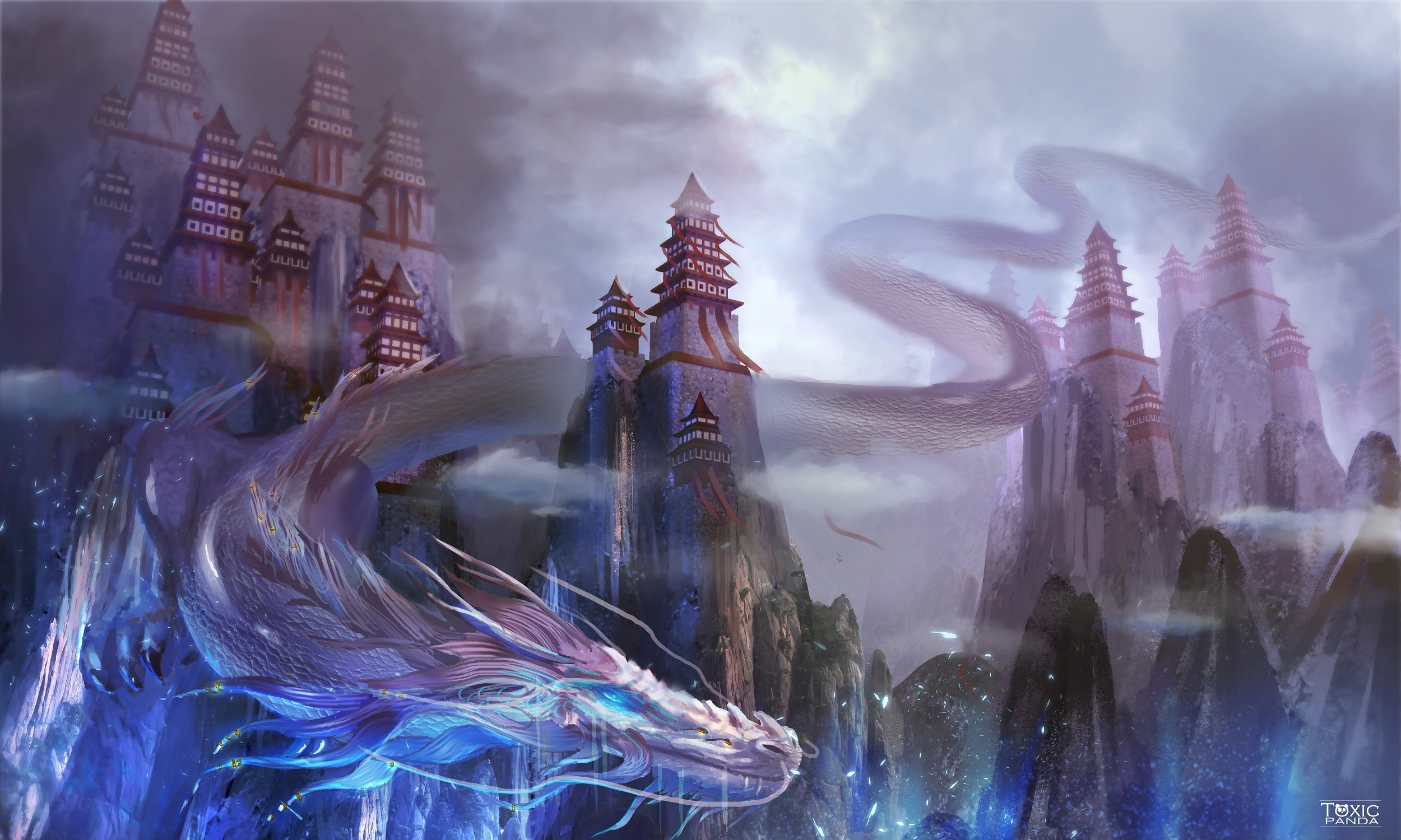 Res: 2500x1500, Fantasy - Dragon Mountain Asian Castle Chinese Dragon Wallpaper