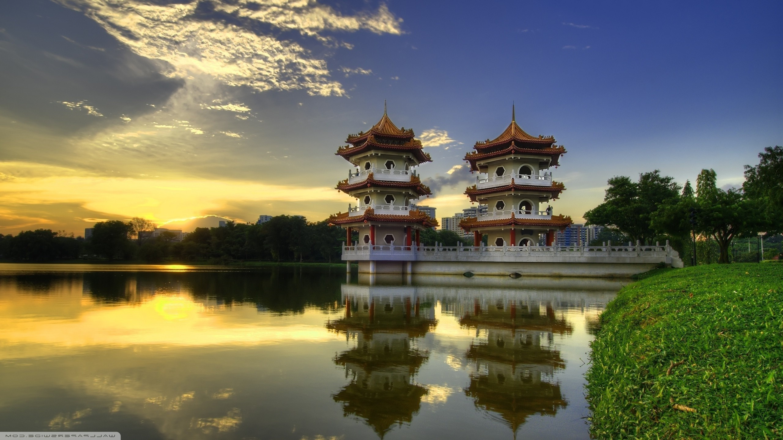 Res: 2560x1440, architecture, Nature, Landscape, Trees, Forest, Asian Architecture,  Singapore, Pagoda, Lake, Grass, Water, Reflection, Clouds, Sun Wallpapers HD  / Desktop ...