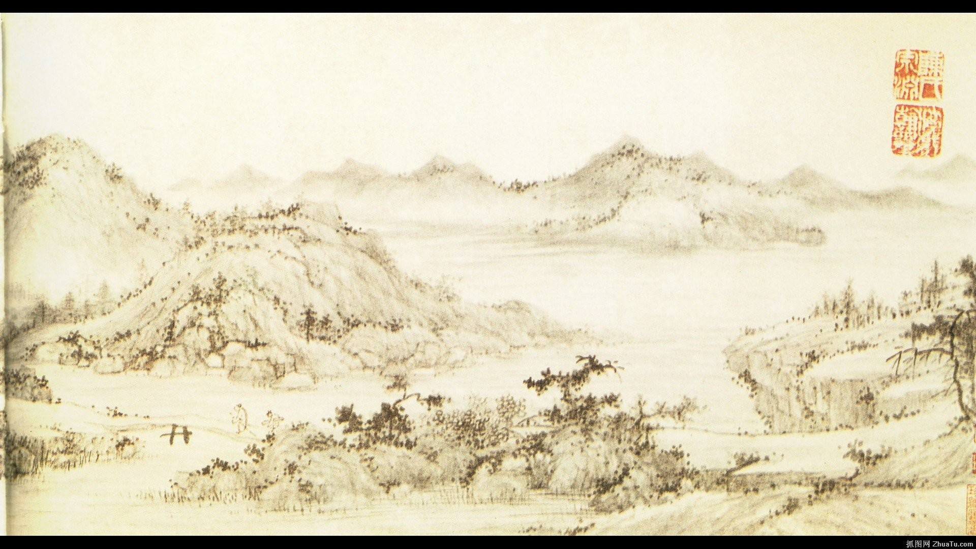 Res: 1920x1080, chinese painting with asian scenery wallpaper.