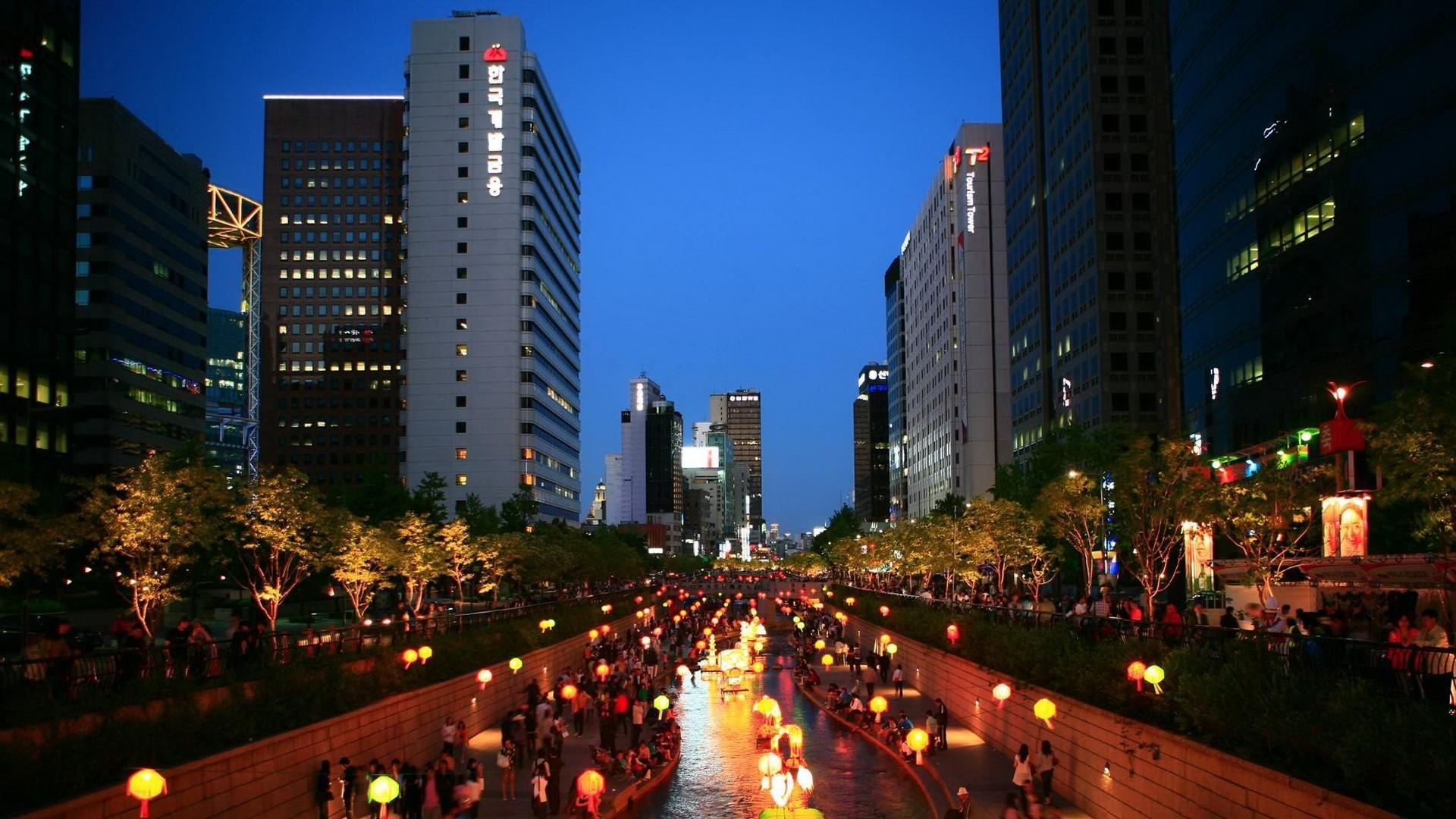 Res: 1920x1080,  Wallpaper korea, asia, seoul, south korea, night, city, lights
