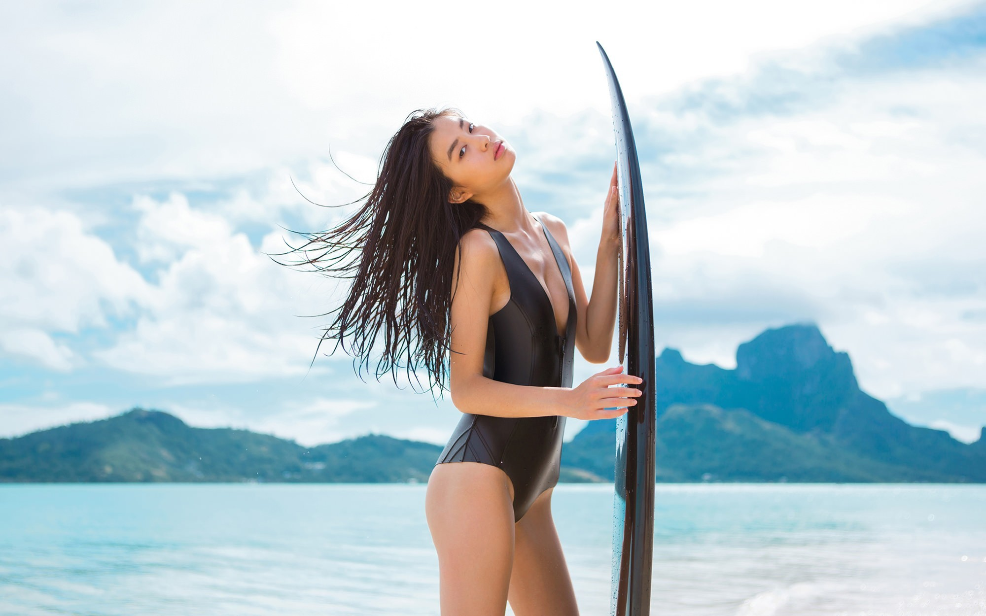 Res: 2000x1250, Beautiful Surfer Girl at Beach HD Images