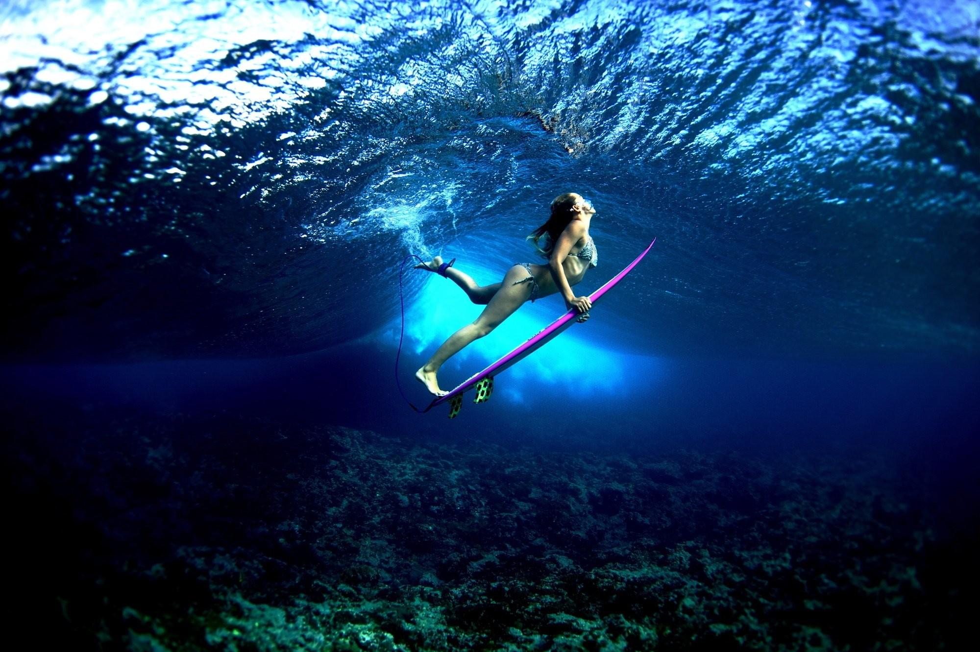 Res: 2000x1331, board ocean girl surf surfing bikini sexy babe underwater wallpaper