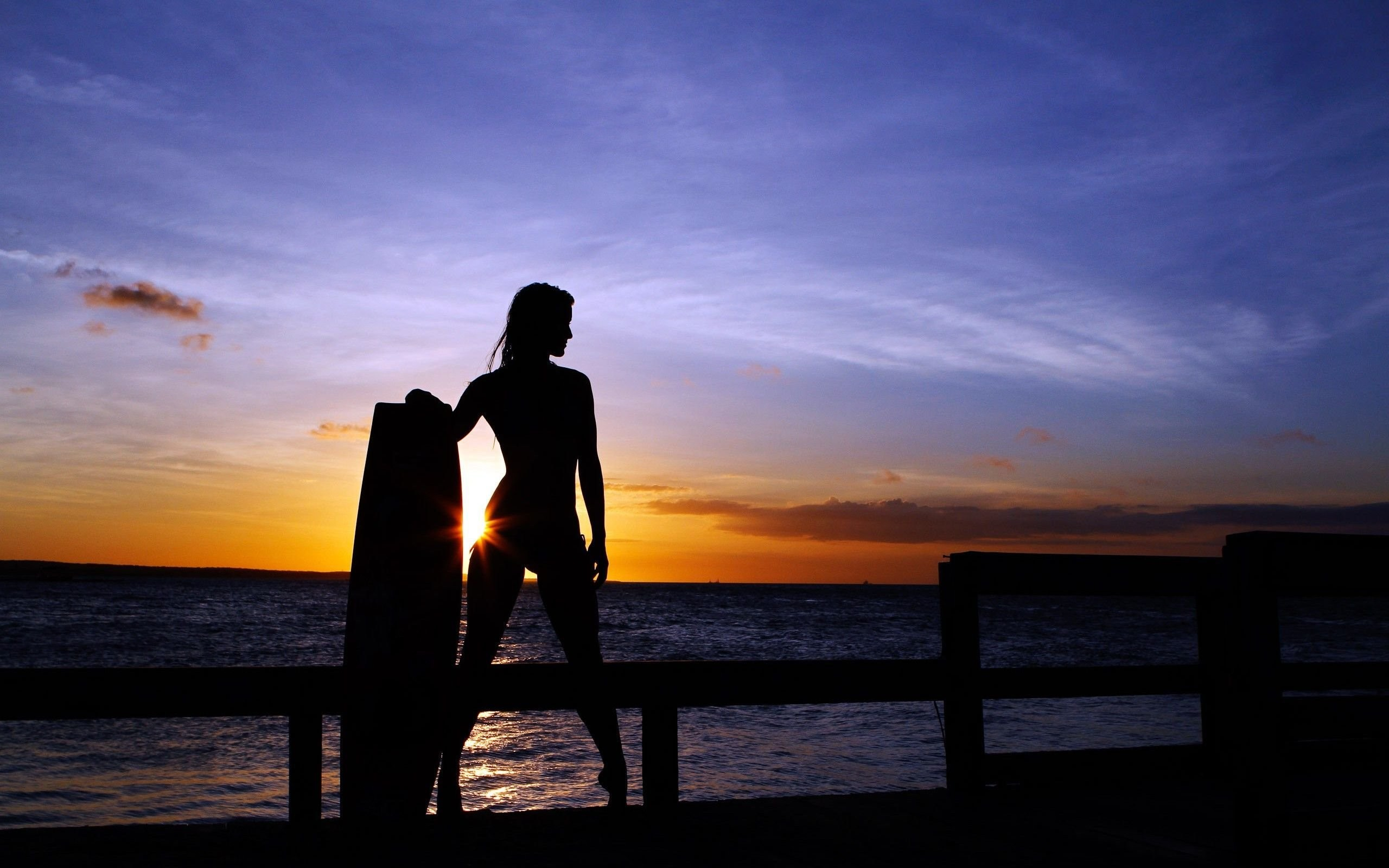Res: 2560x1600, woman surfer in the sunset