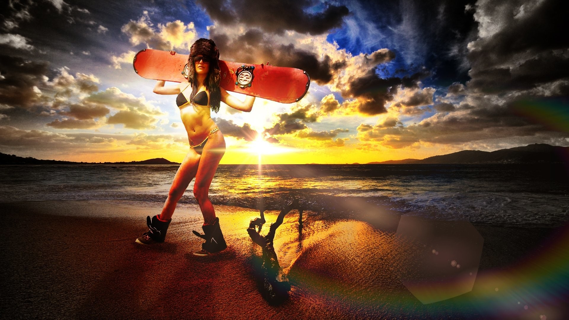 Res: 1920x1080, Surf Beach Girl Backgrounds.