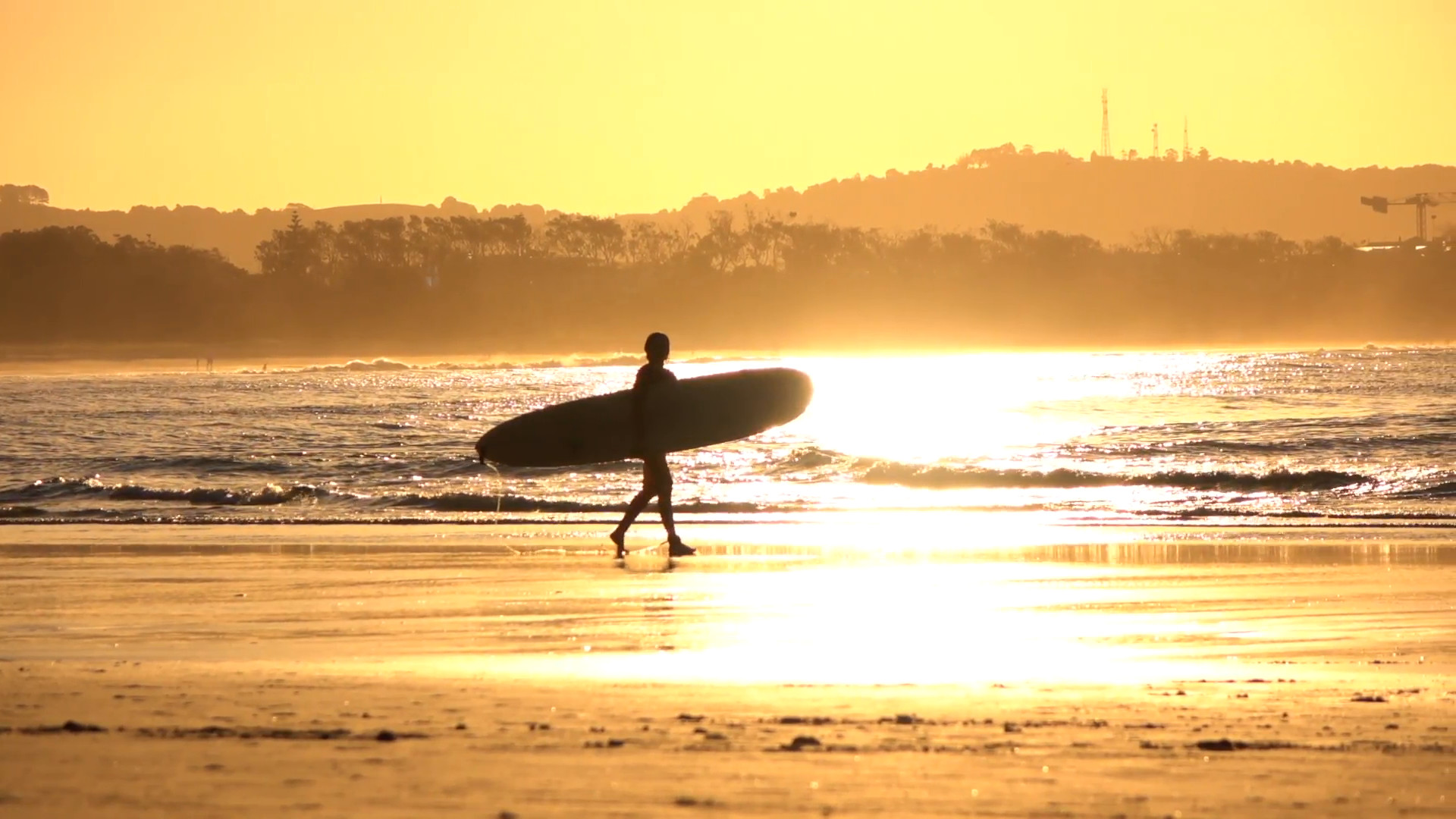 Res: 1920x1080, SLOW MOTION: Unrecognizable surfer girl carrying longboard surf at golden  sunset Stock Video Footage - Videoblocks