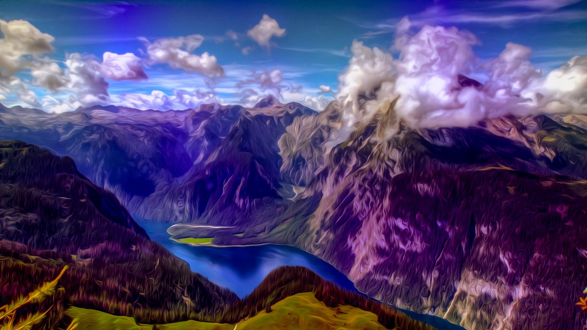 Res: 1920x1080, Mountains landscape nature mountain psychedelic wallpaper |  |  652982 | WallpaperUP