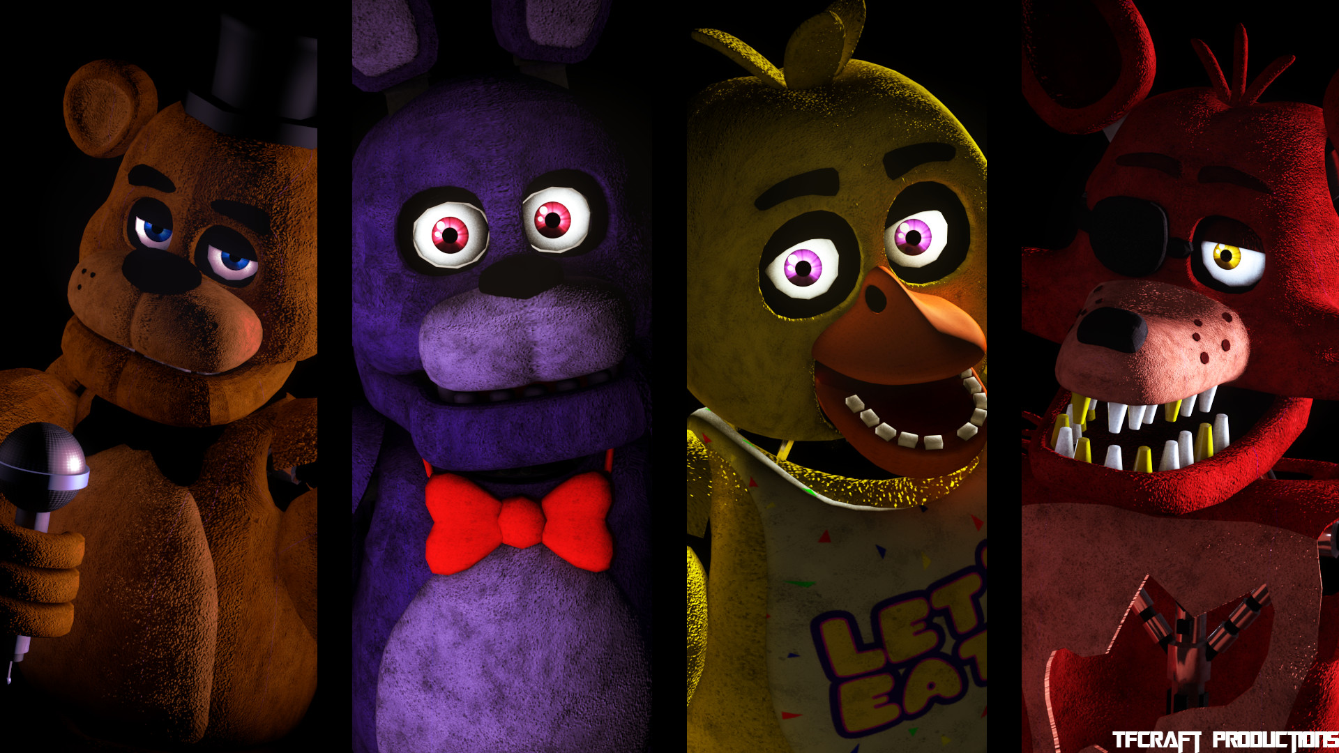 "Res: 1920x1080, FNAF 1 ""Group Picture"" Wallpaper (C4D)"