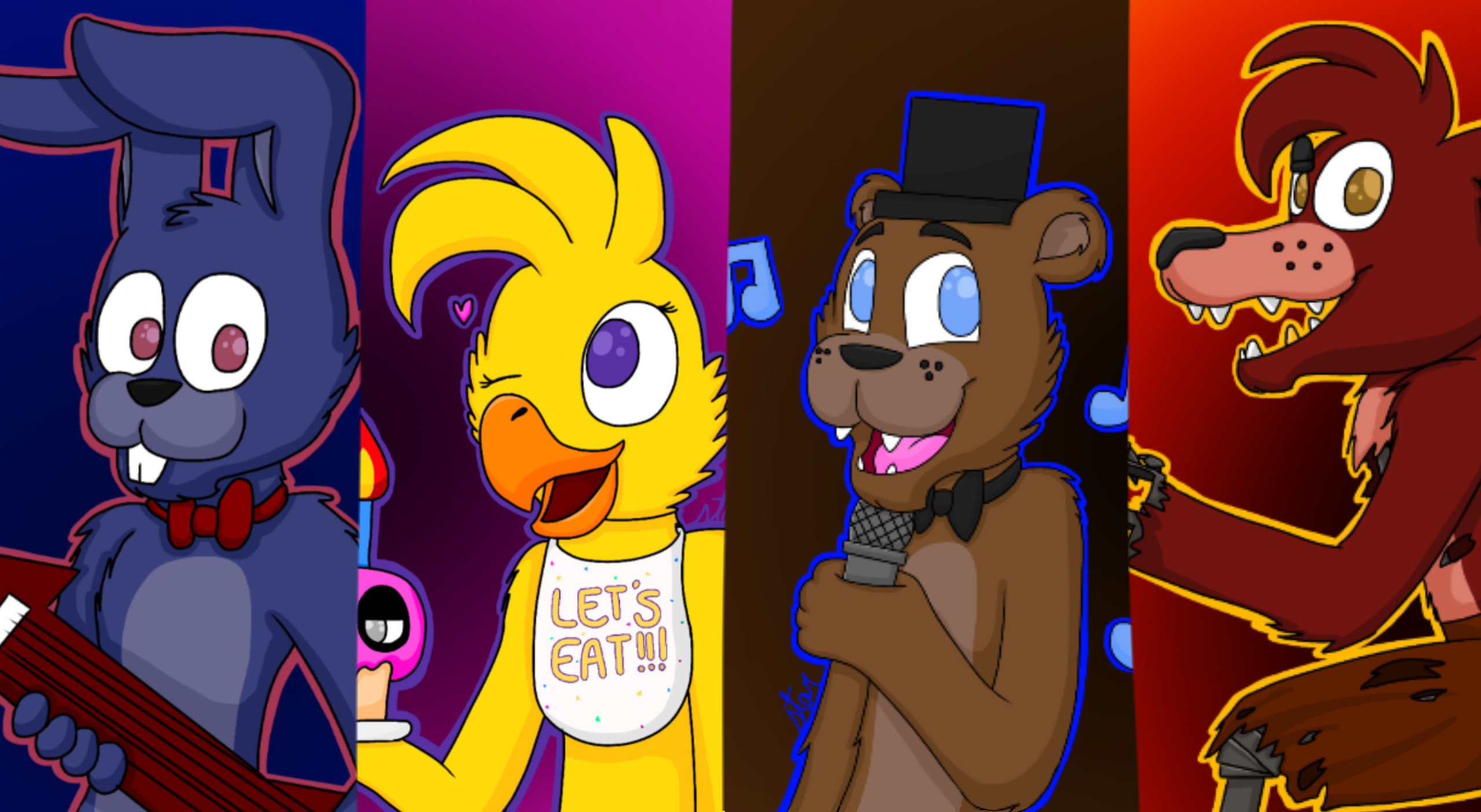 Res: 2560x1404, ... FNAF 1 PosterWallpaper by StarredShadow