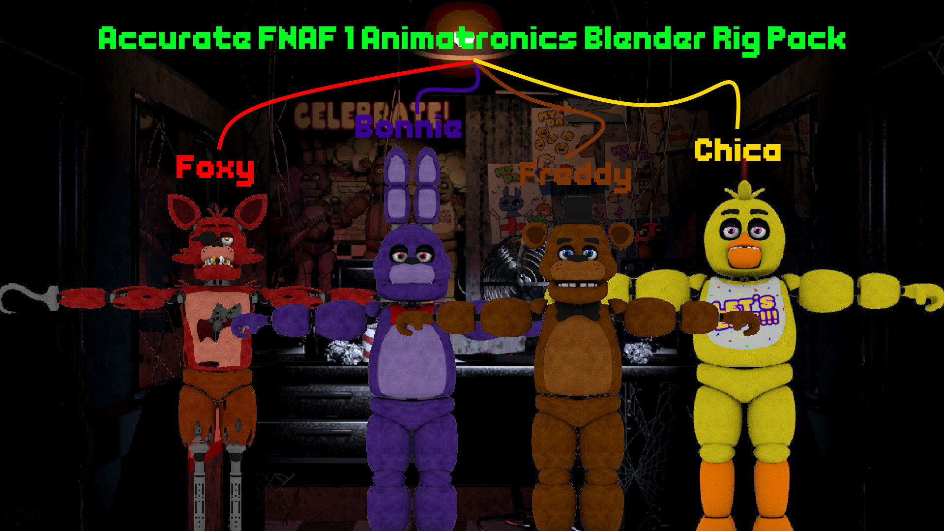 Res: 1920x1080, ... Accurate FNAF 1 Animatronics Blender Rig Pack (DL) by Coreycool99
